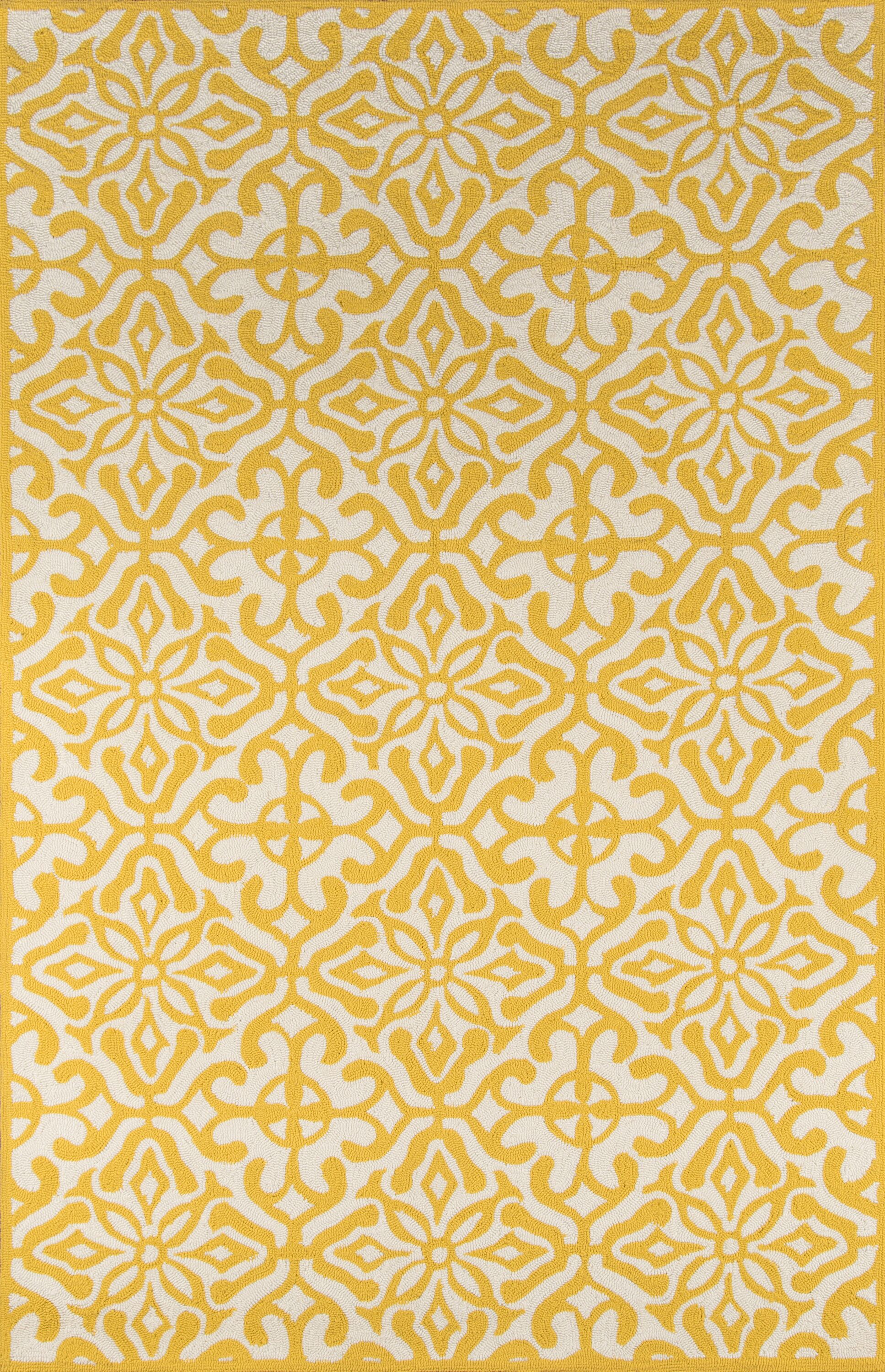 St James Yellow/White Outdoor Area Rug Rug Size: Rectangle 3'9