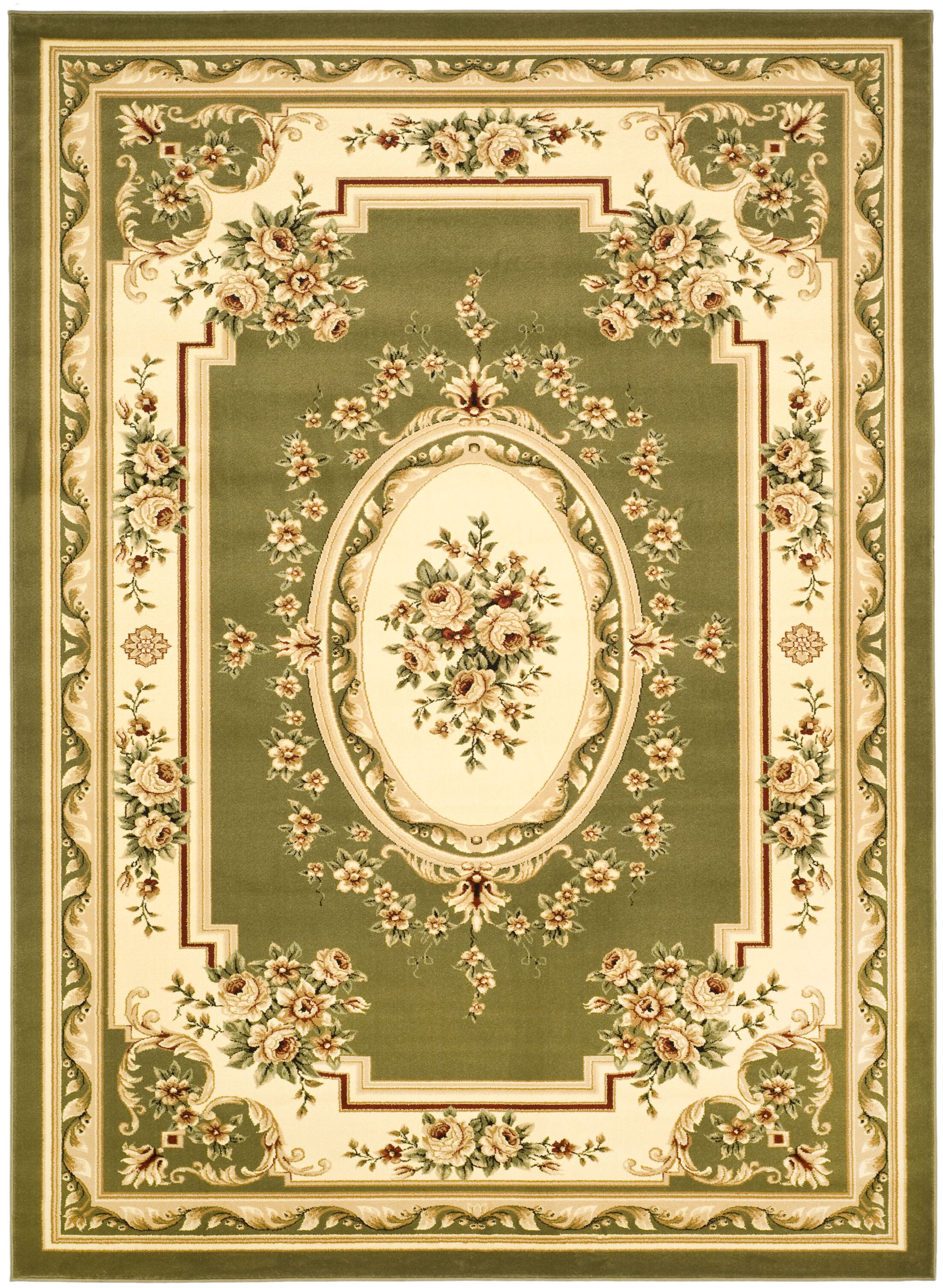 Taufner Sage/Ivory Aubusson Area Rug Rug Size: Round 8'