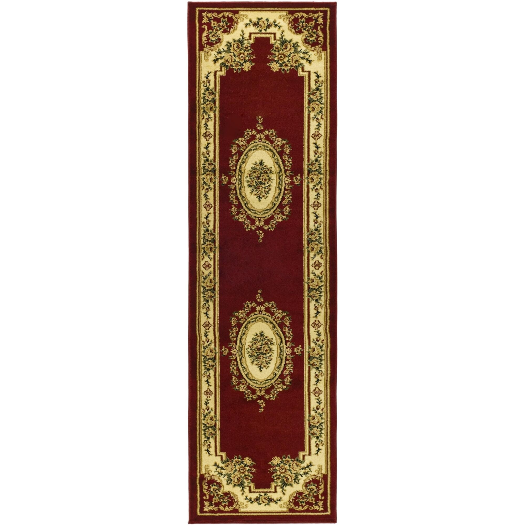 Taufner Aubusson Red/Ivory Area Rug Rug Size: Runner 2'3