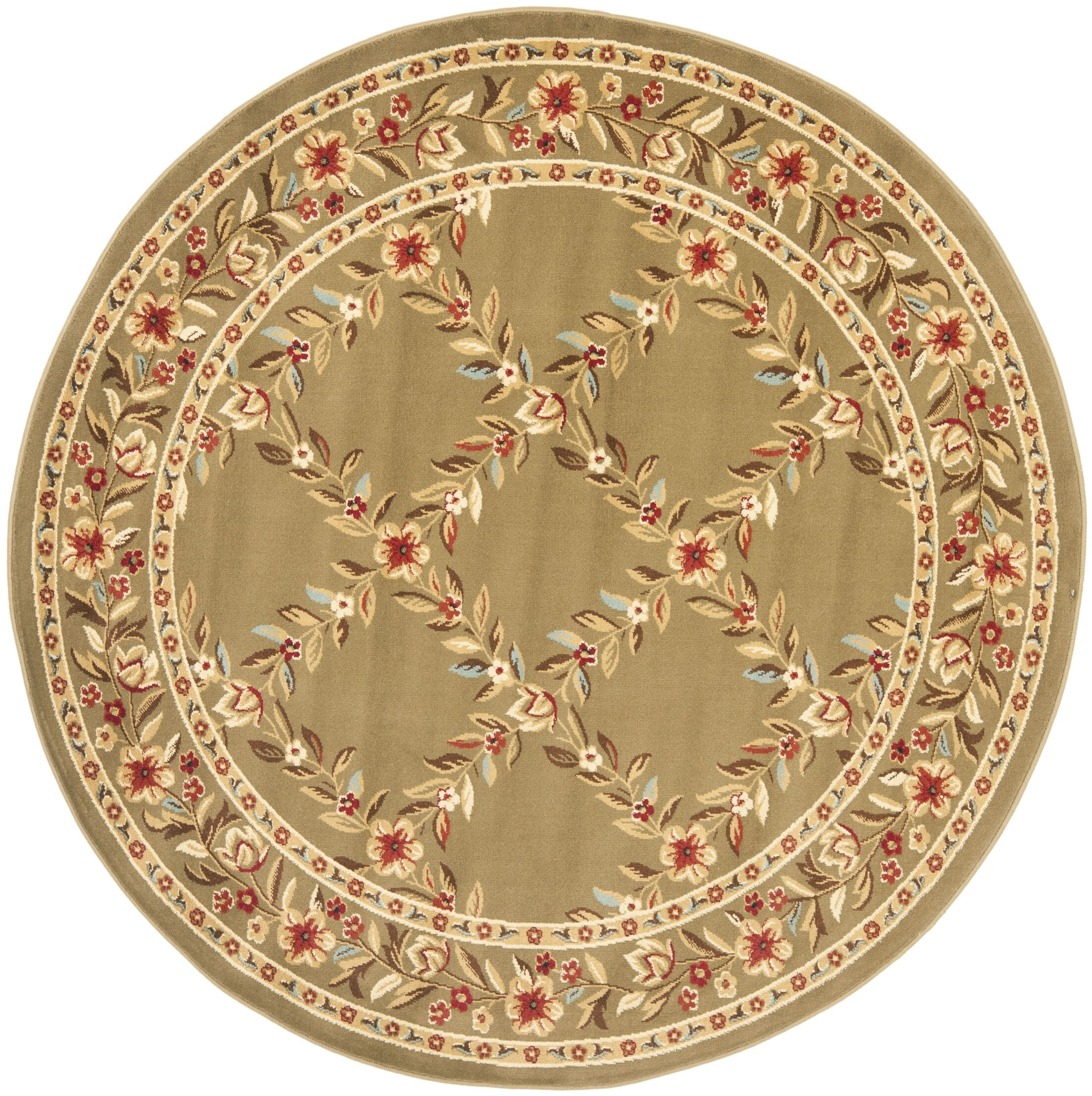 Taufner Green Checked Area Rug Rug Size: Round 5'3