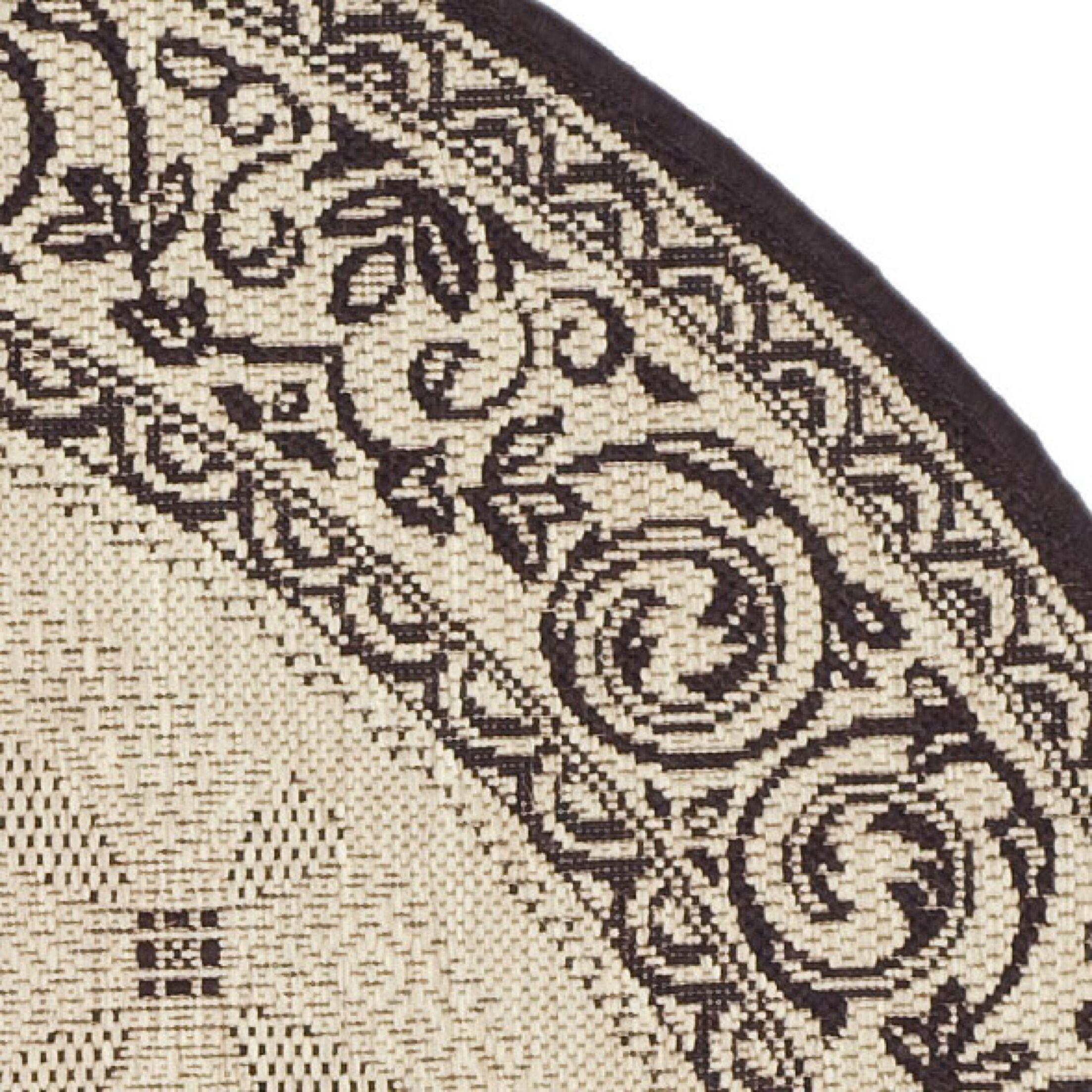 Beasley Ivory/Black Border Outdoor Rug Rug Size: Round 6'7