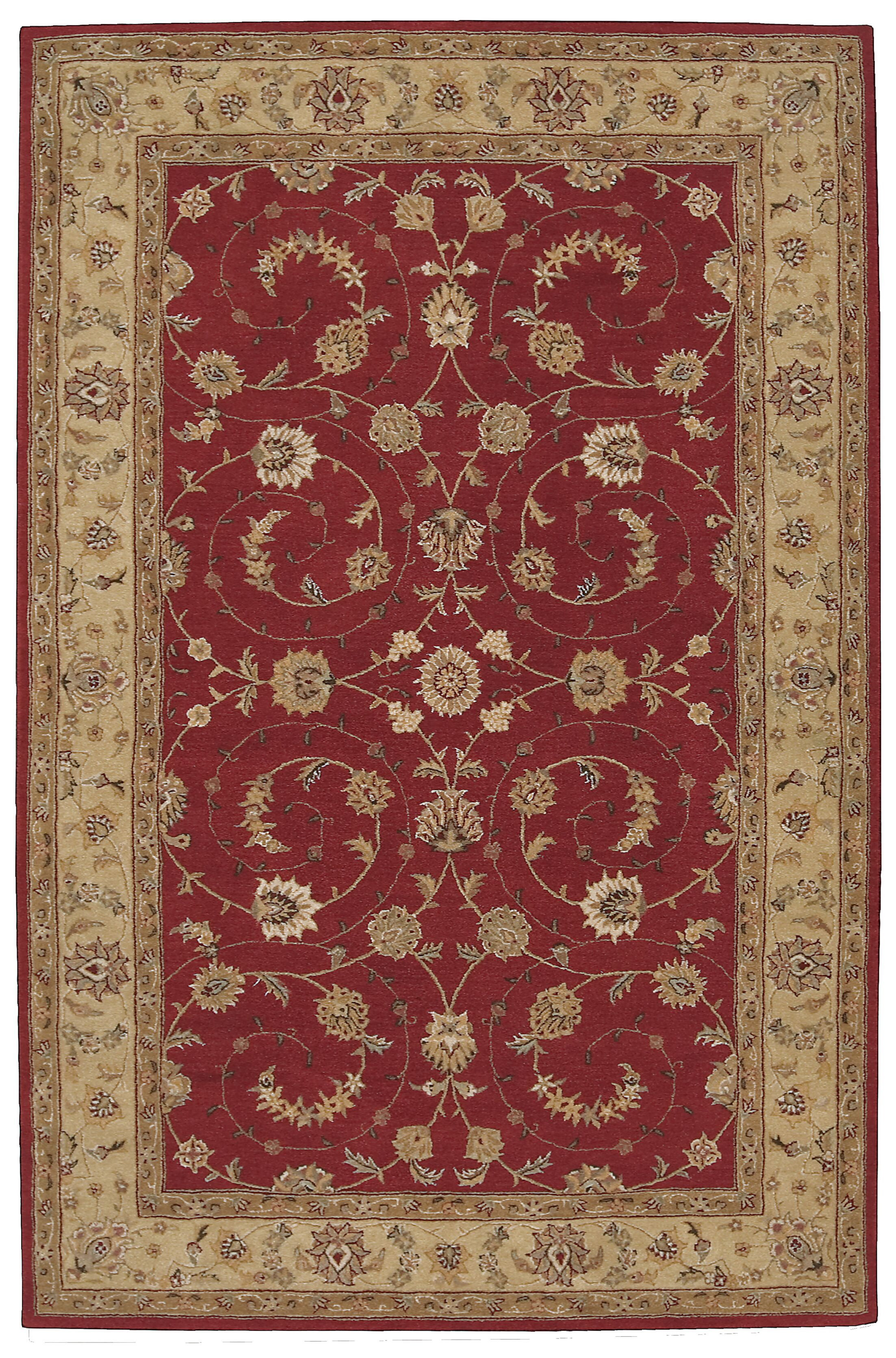 Lundeen Red Floral Area Rug Rug Size: Rectangle 5'6