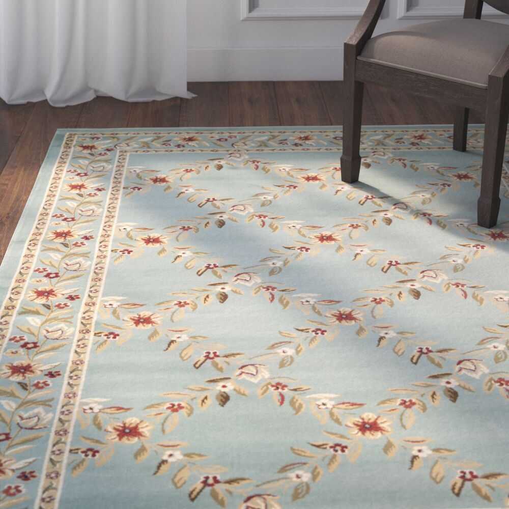 Taufner Blue Checked Area Rug Rug Size: Rectangle 5'3