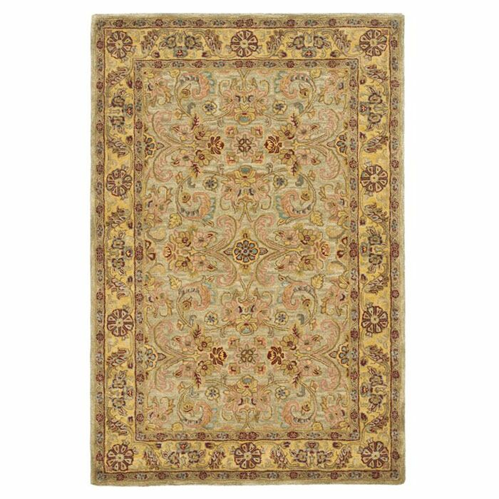 Berezinsky Light Green / Gold Area Rug Rug Size: Oval 4'6