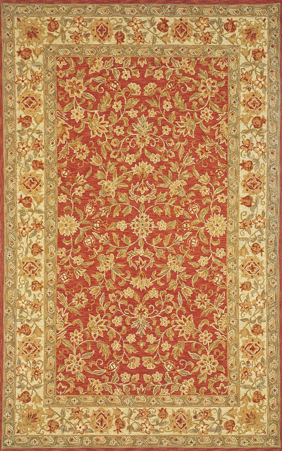 Medford Handmade Red/Gold Area Rug Rug Size: Rectangle 3'6
