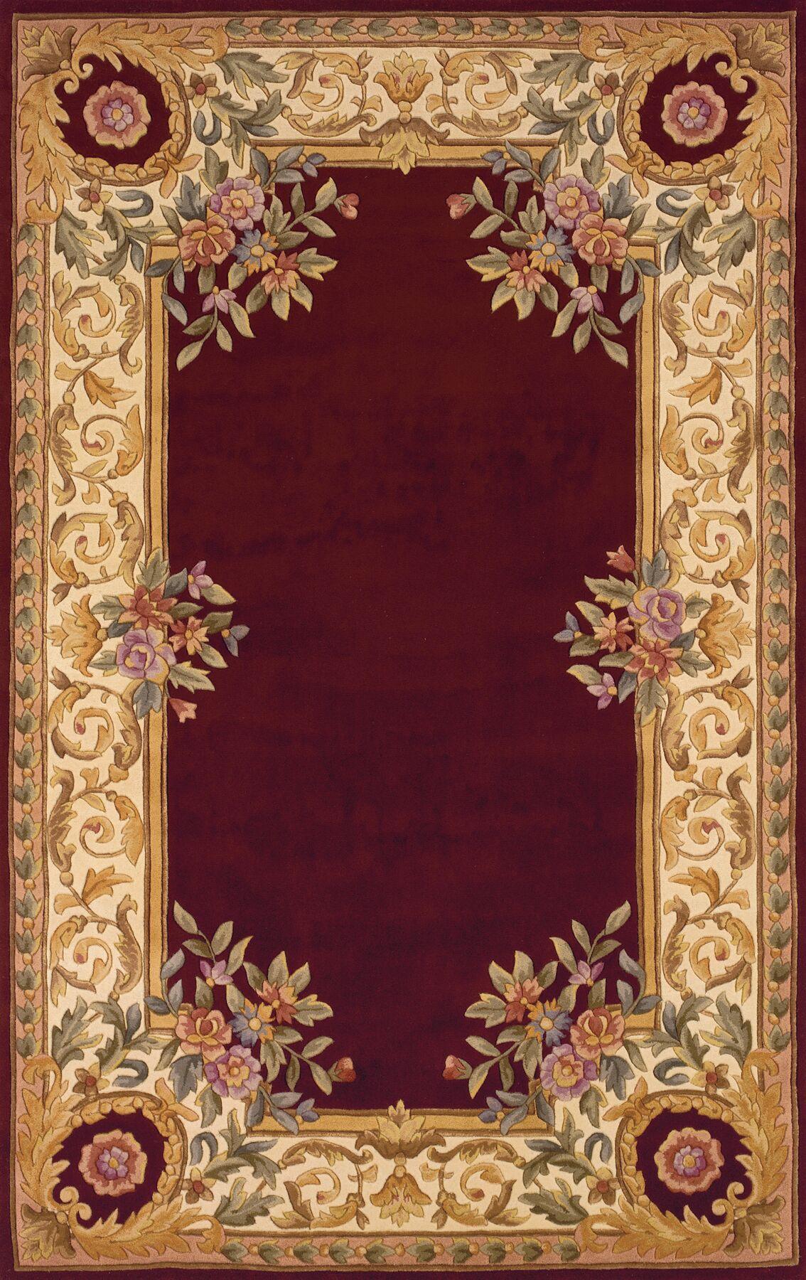 Laurel Hand-Tufted Burgundy/Beige/Ivory Area Rug Rug Size: Rectangle 3'6
