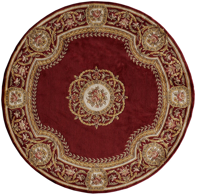 Laurel Hand-Tufted Burgundy Area Rug Rug Size: Round 7'9