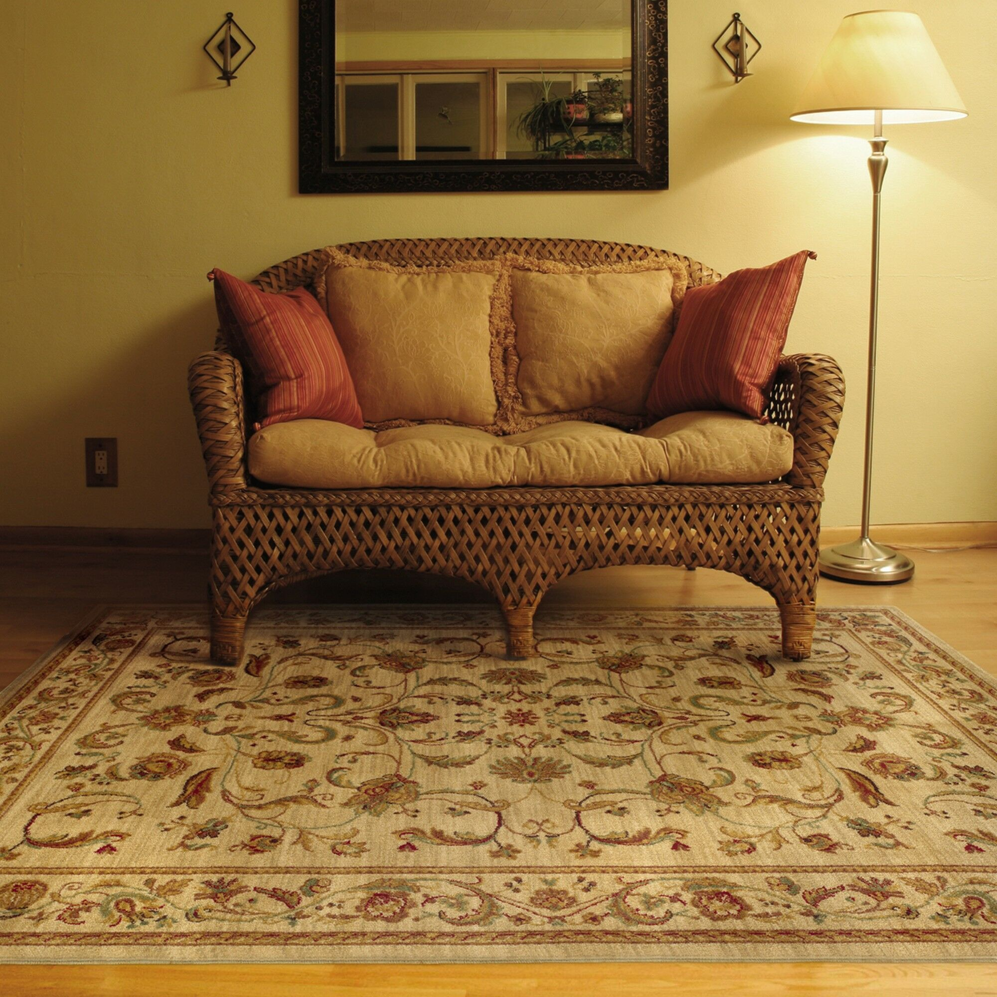 Barrows Beige/Red Area Rug Rug Size: Rectangle 7'8