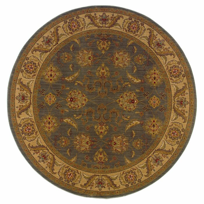 Barrows Floral Green/Beige Area Rug Rug Size: Round 7'8