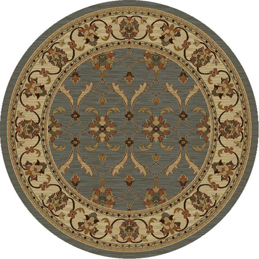 Antwerp Slate/Ivory Agra Rug Rug Size: Round 7'10