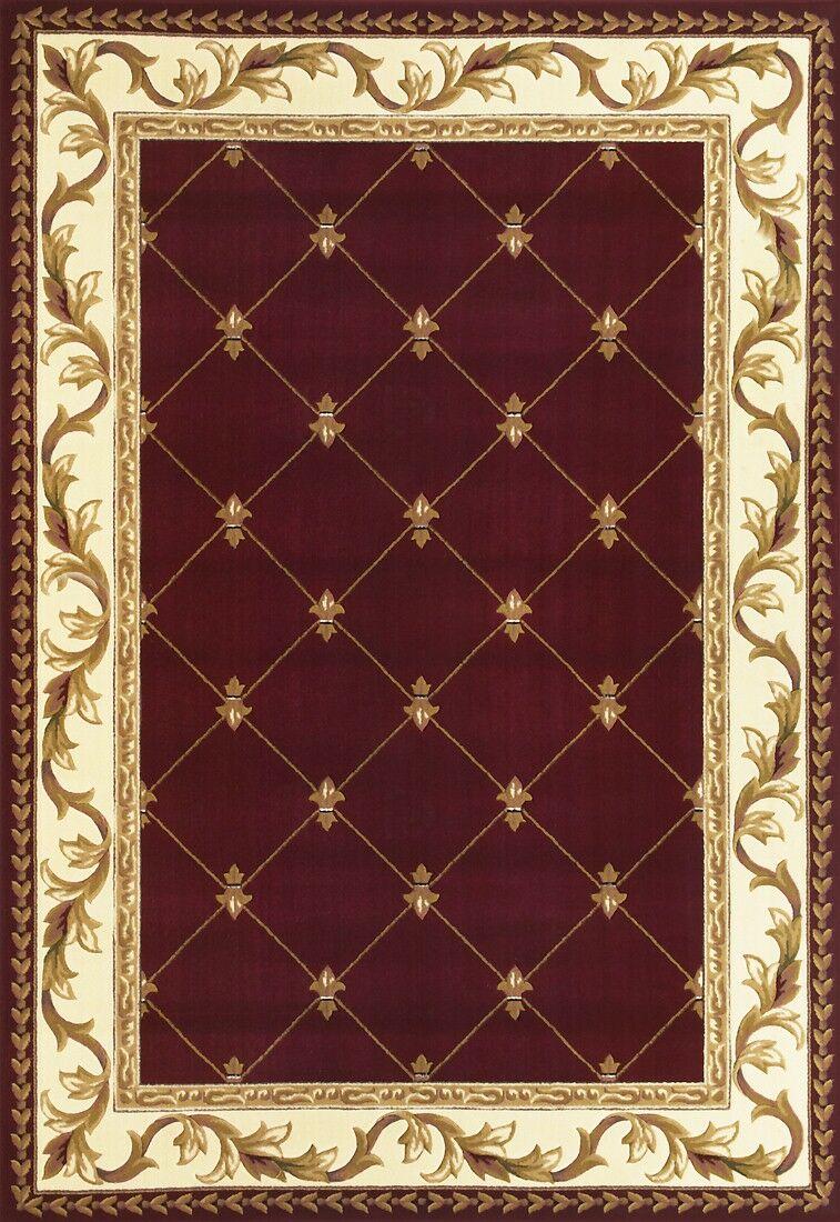 Barwin Fleur De Lis Red Area Rug Rug Size: Rectangle 9'10