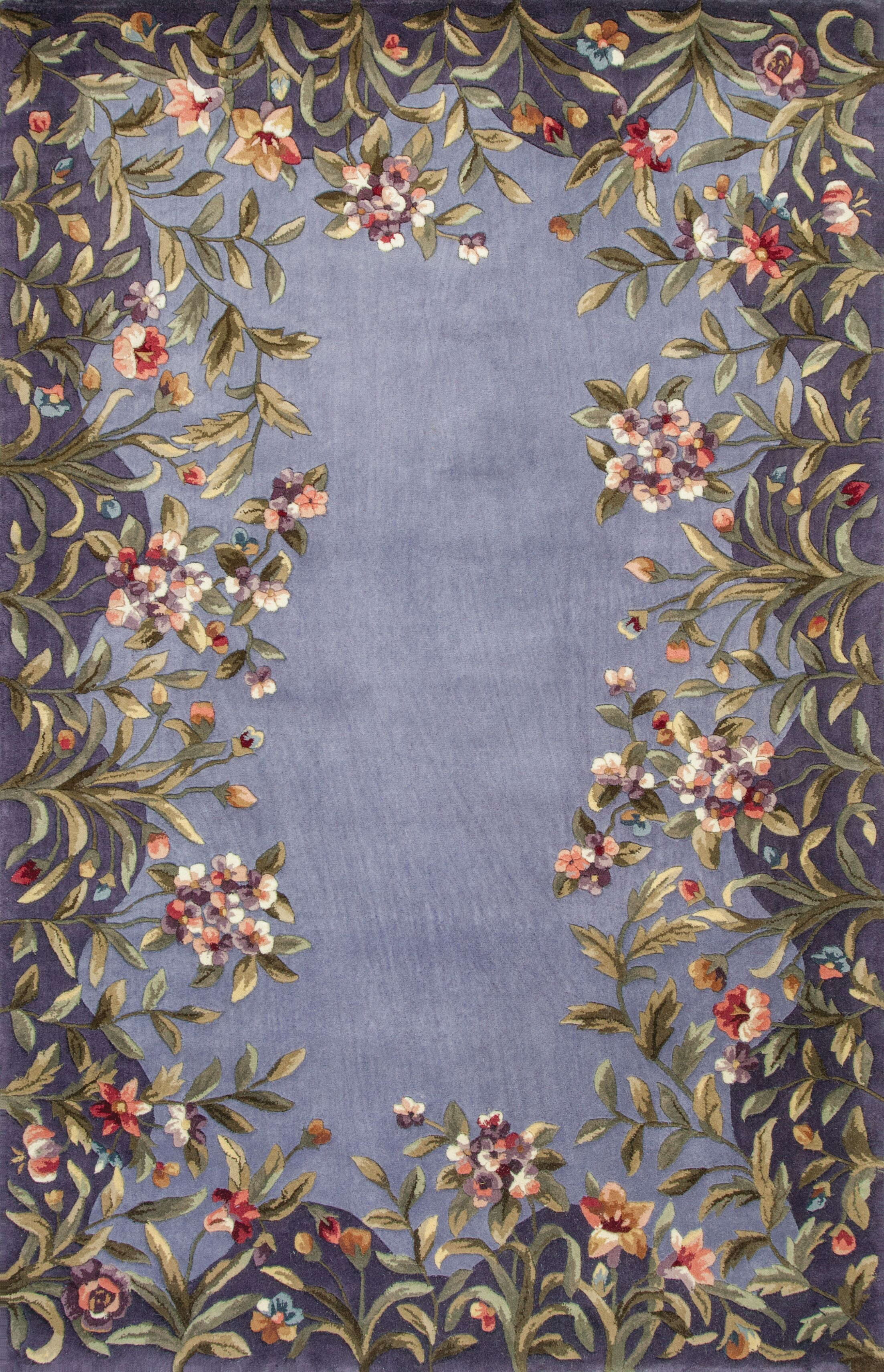Veronique Lavender/Green Garden Area Rug Rug Size: Rectangle 5'3