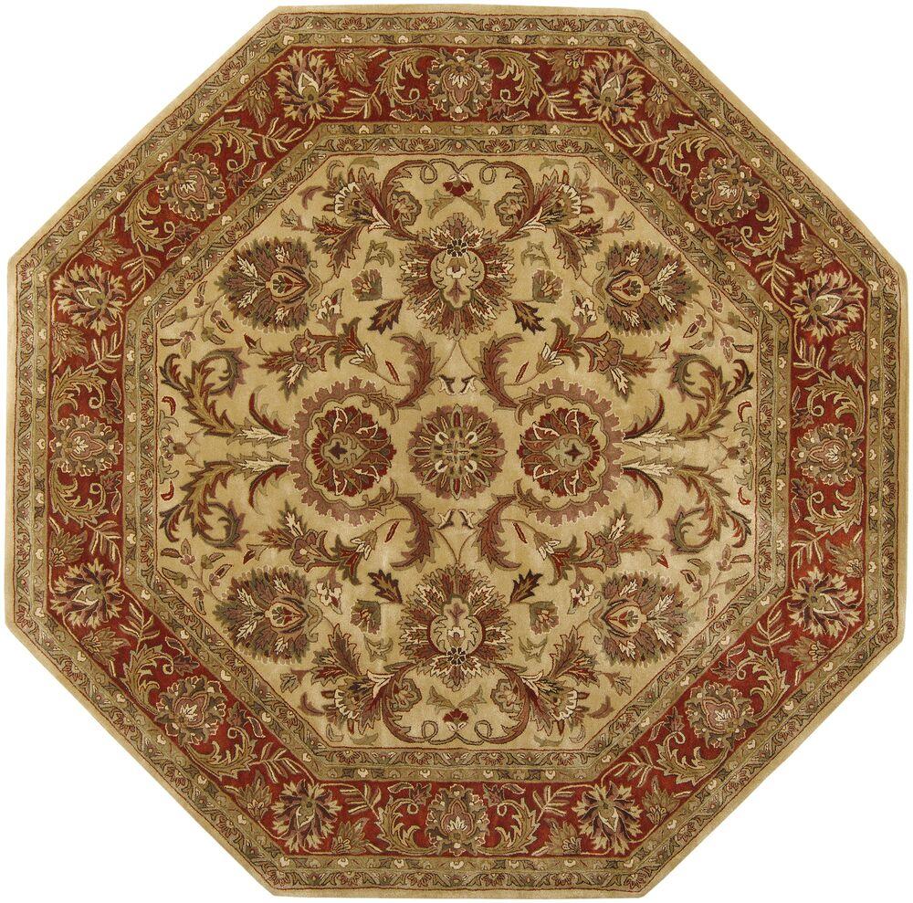 Garrison Gold/Red Area Rug Rug Size: Octagon 8'