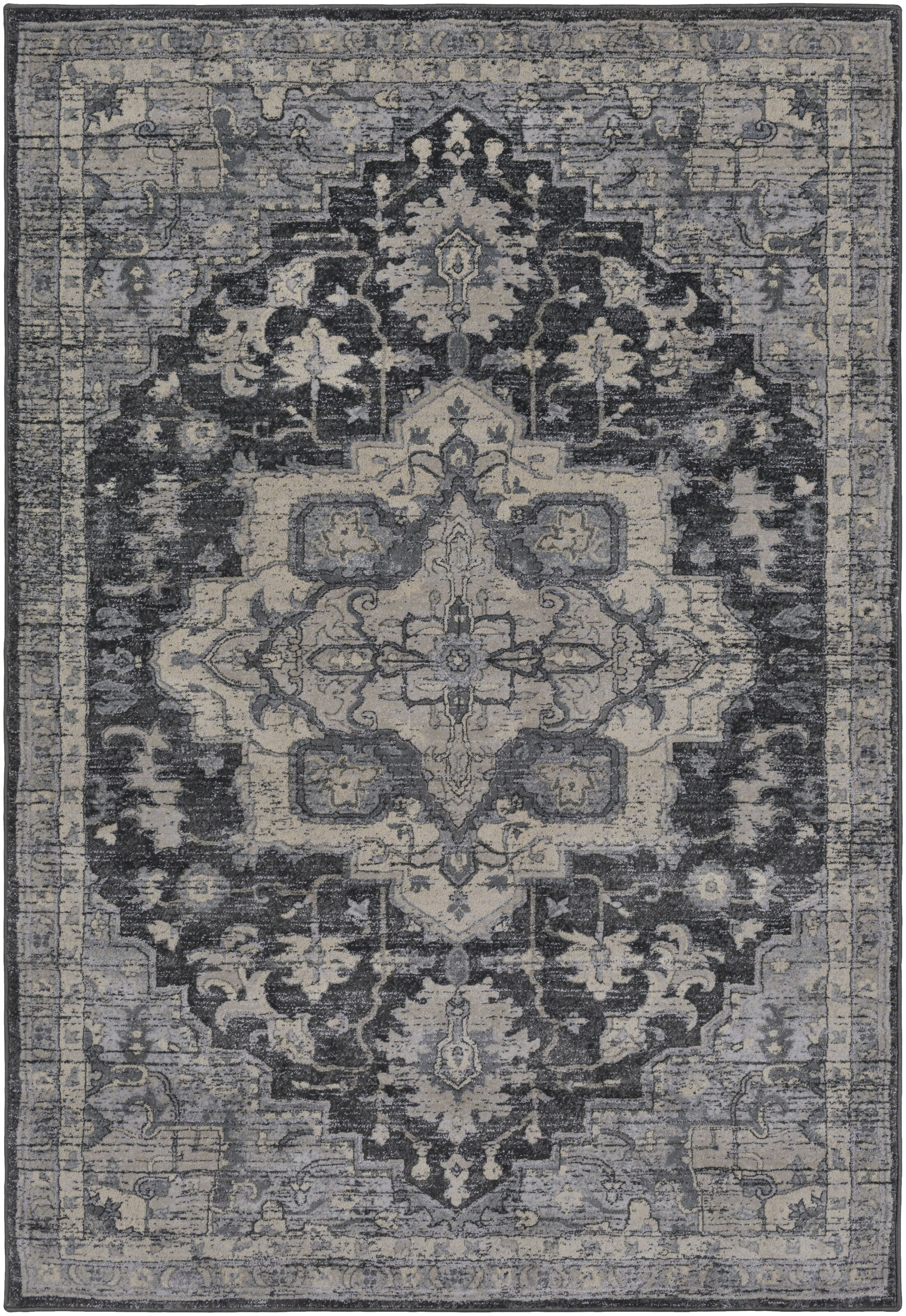 Villegas Charcoal/Cream Area Rug Rug Size: Rectangle 5' x 7'6