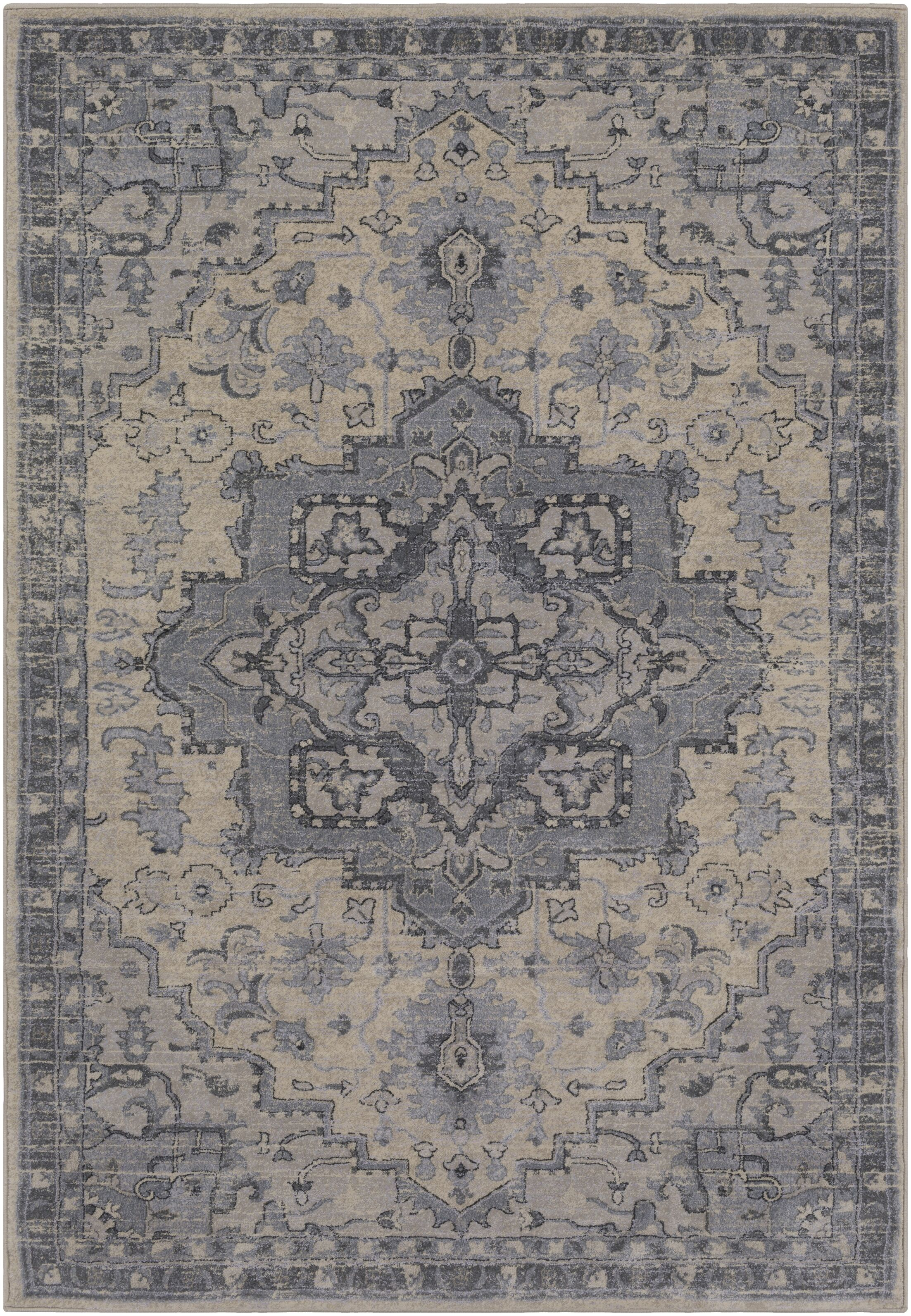 Villegas Light Gray/Cream Area Rug Rug Size: Rectangle 8' x 10'