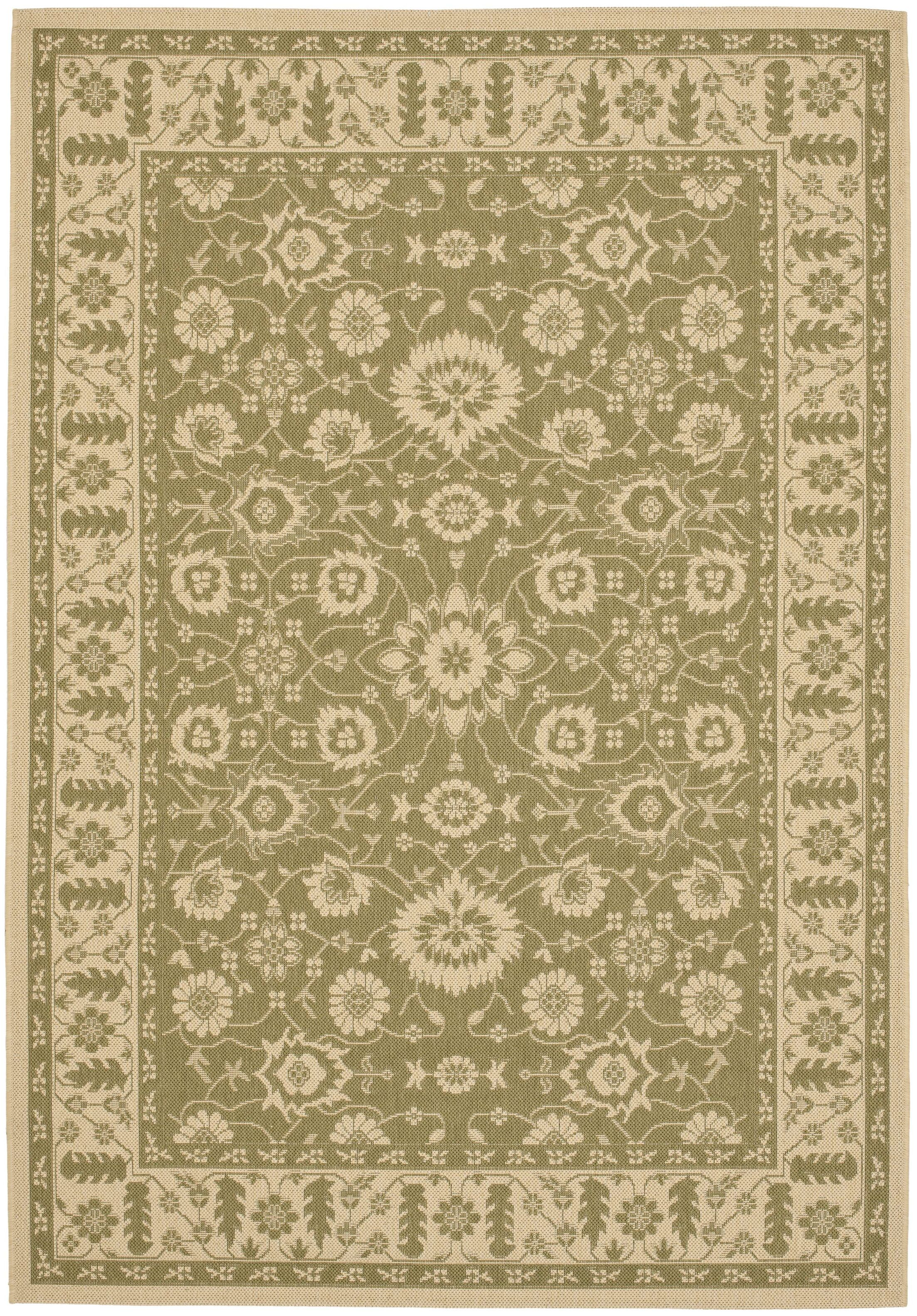 Beasley Olive/Creme Outdoor Area Rug Rug Size: Rectangle 2'7