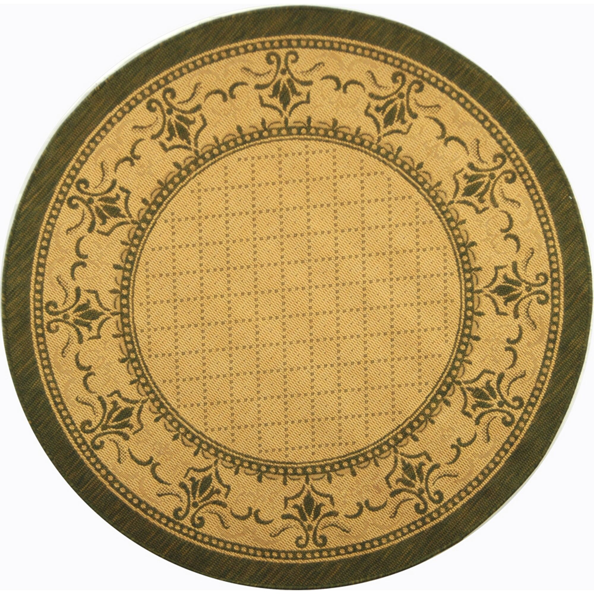 Beasley Natural/Olive Outdoor Rug Rug Size: Round 6'7