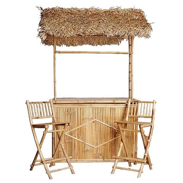Porter Bamboo 3 Piece Tiki Bar Set with Palapa Roof