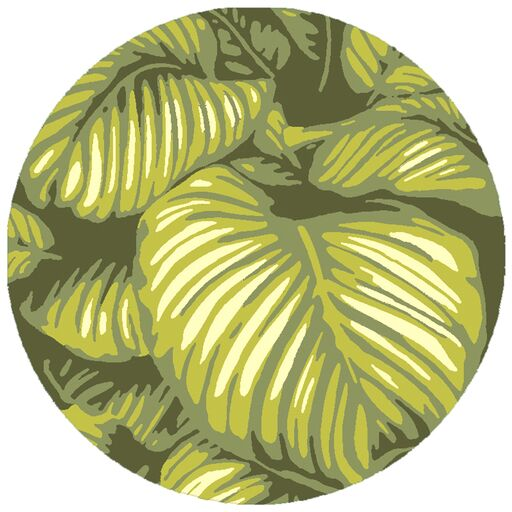 Passionflower Hand-Tufted Indoor/Outdoor Green Area Rug Rug Size: Round 8'