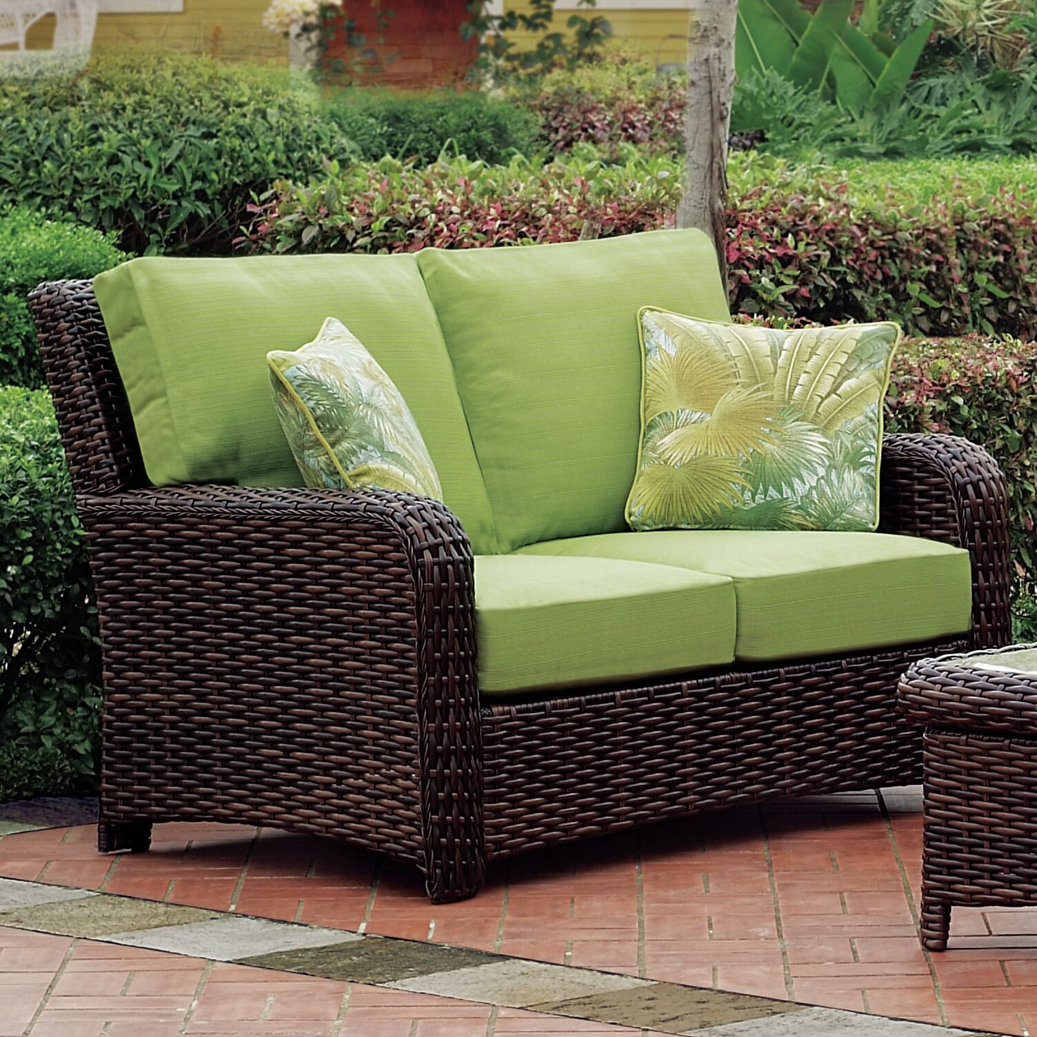 Chorio Loveseat with Cushions Cushion Color: Peridot, Frame Color: Espresso