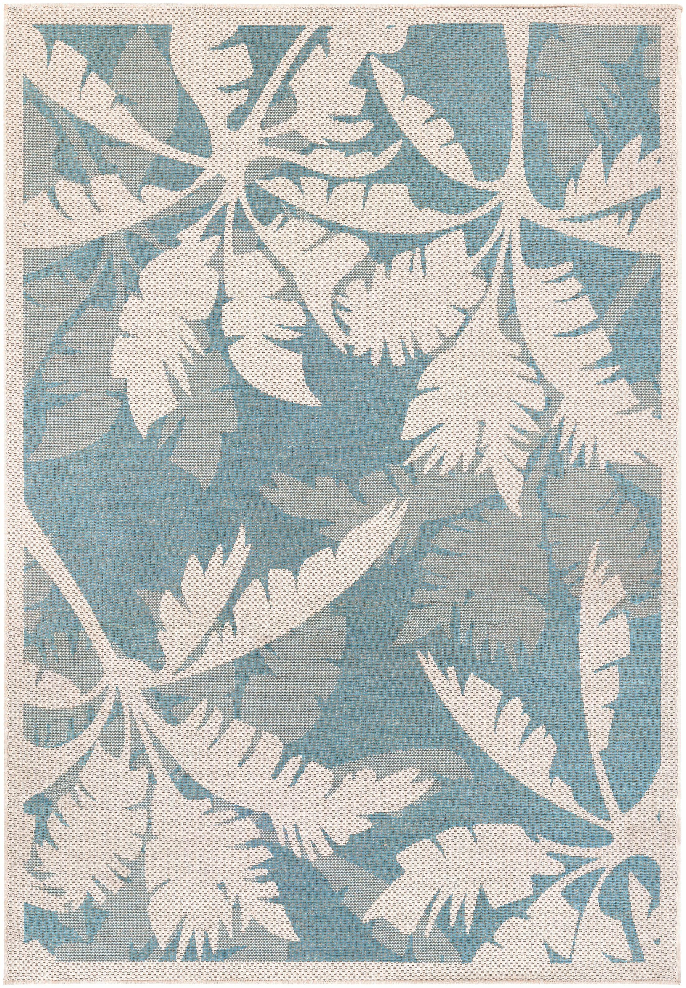 Odilia Coastal Flora Ivory/Turquoise Indoor/Outdoor Area Rug Rug Size: Rectangle 5'10