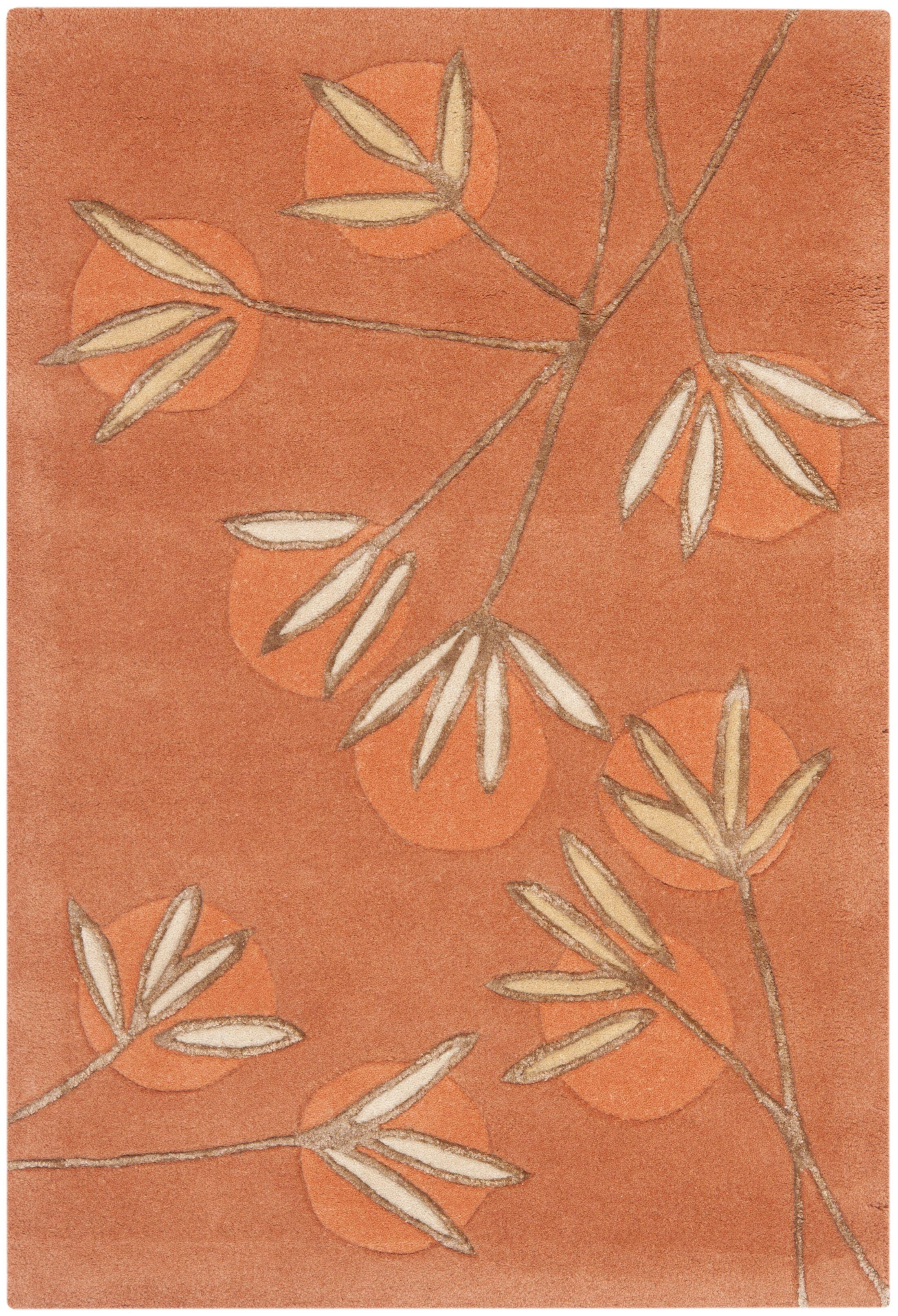Felton Hand-Tufted Rust Area Rug Rug Size: Rectangle 3'6