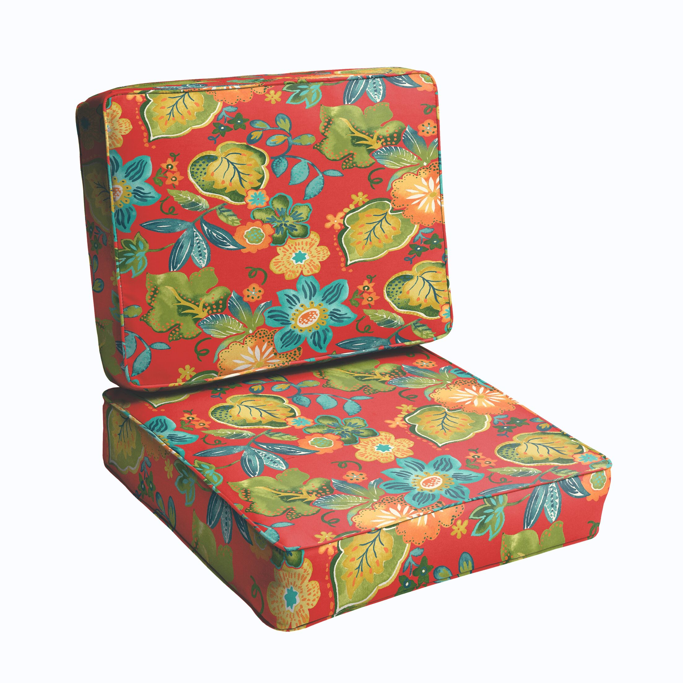 2 Piece Indoor/Outdoor Chair Cushion Set Color: Red