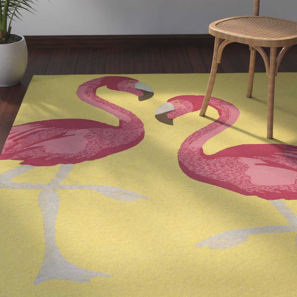 Brianna Handmade Yellow Indoor/Outdoor Area Rug Rug Size: Rectangle 5' x 7'6