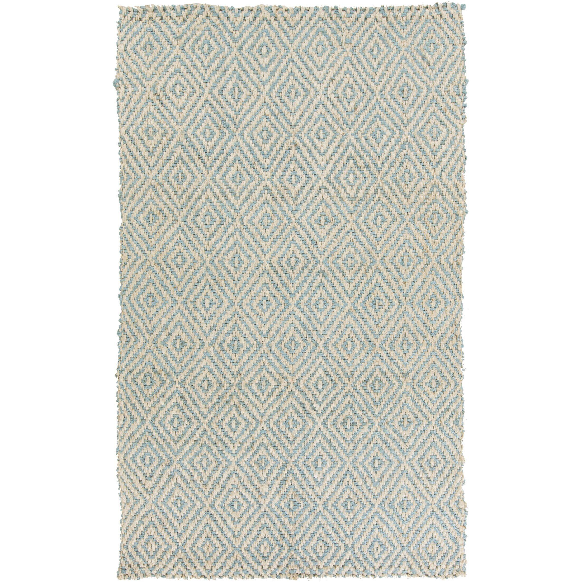 Annalee Hand-Woven Cream/Aqua Area Rug Rug Size: Rectangle 5' x 8'