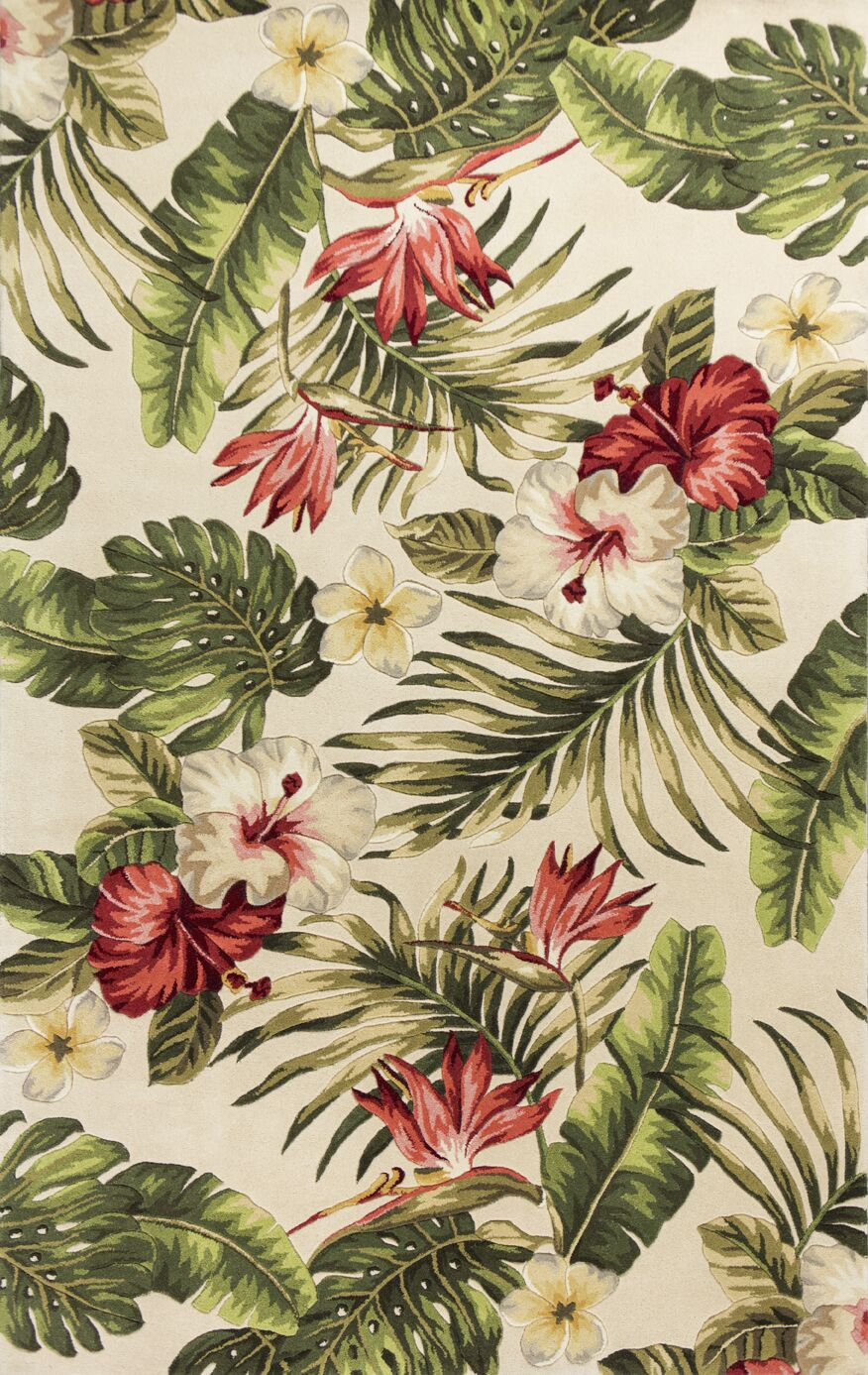 Roseleaf Hand-Tufted Multi-Colored Area Rug Rug Size: Rectangle 5' x 8'