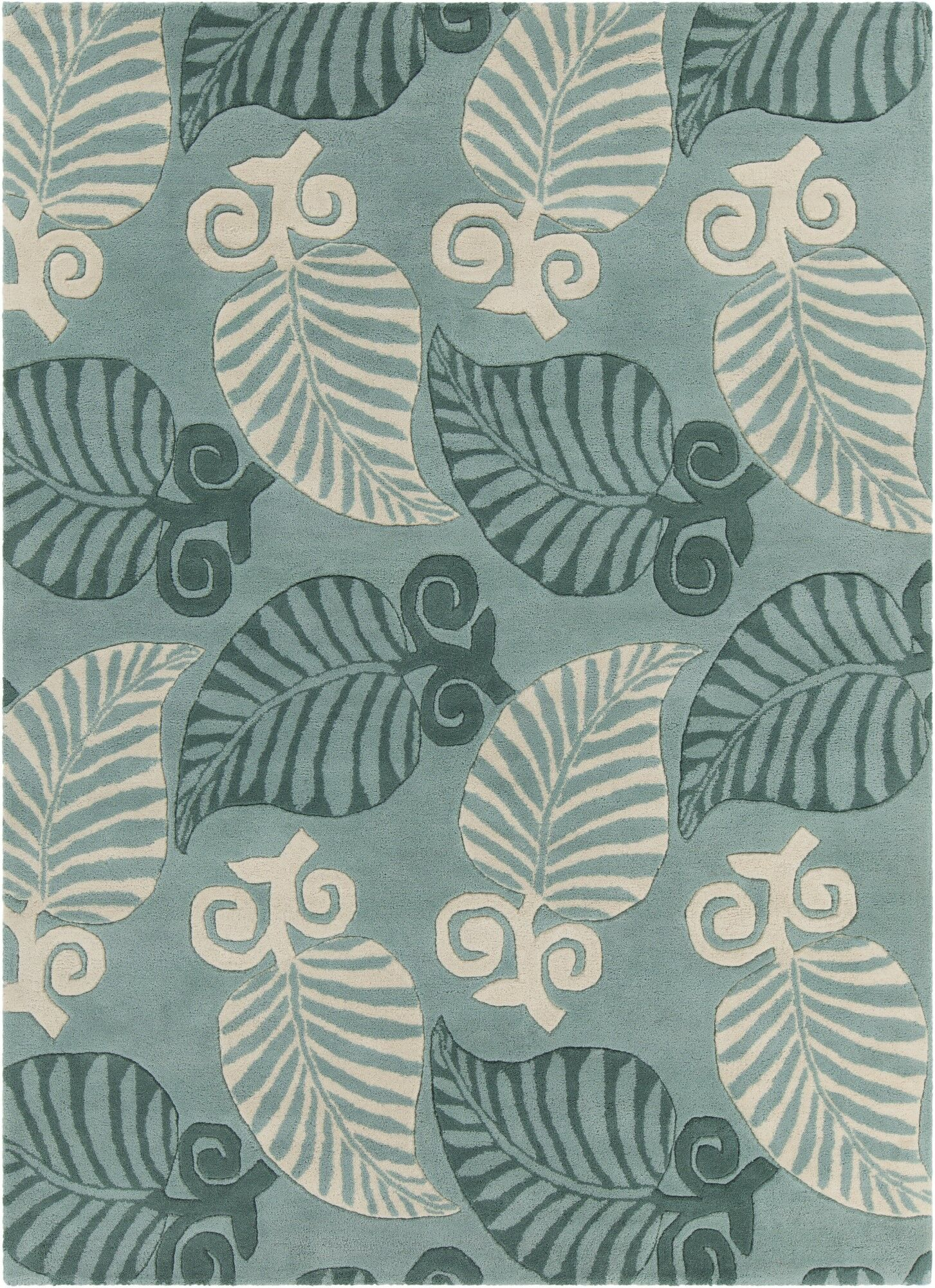 Arcadia Hand Tufted Rectangle Transitional Green/Cream Area Rug Rug Size: 5' x 7'
