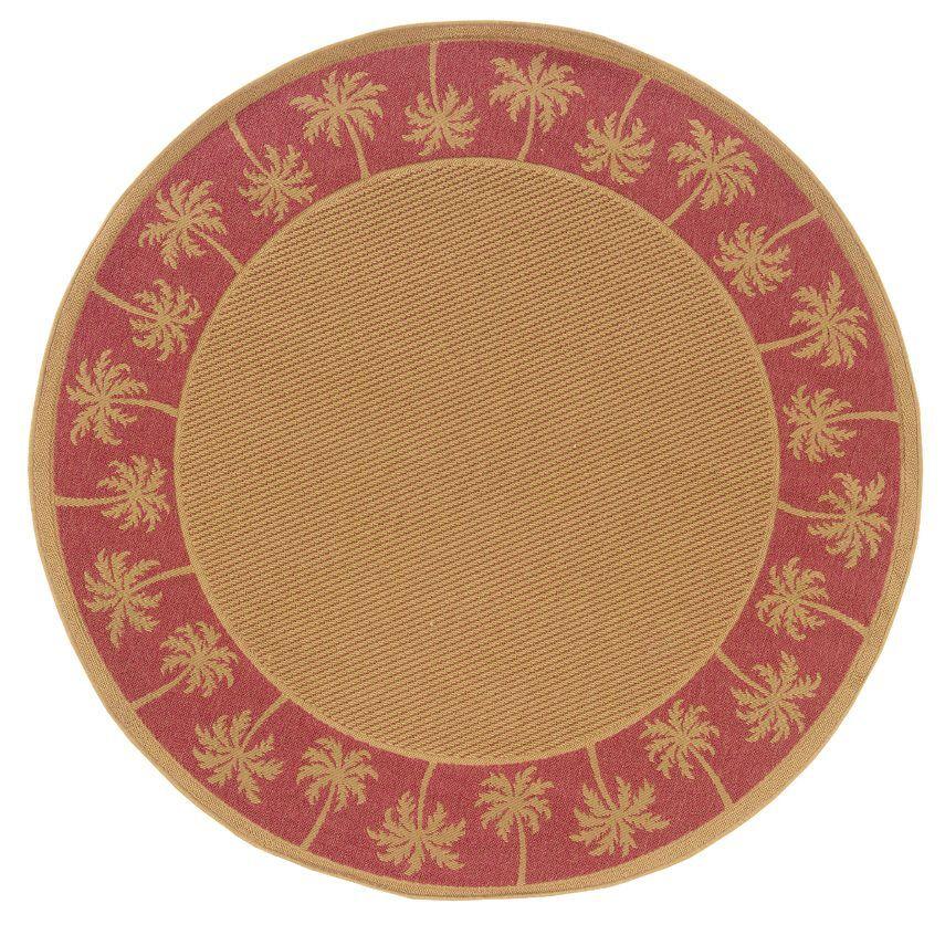 Goldenrod Beige/Red Indoor/Outdoor Area Rug Rug Size: Round 7'10