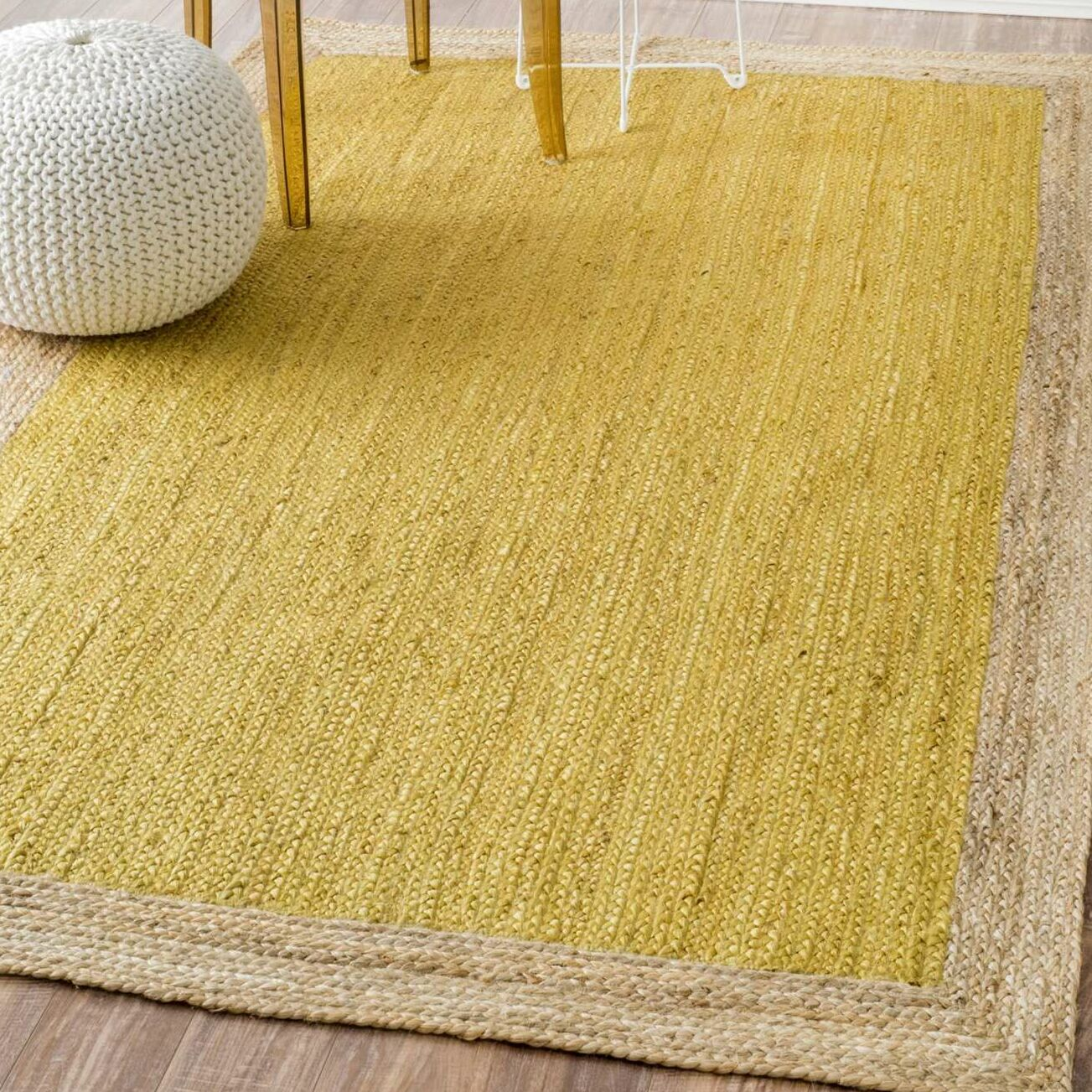 Greiner Hand-Woven Yellow Area Rug Rug Size: Rectangle 9' x 12'