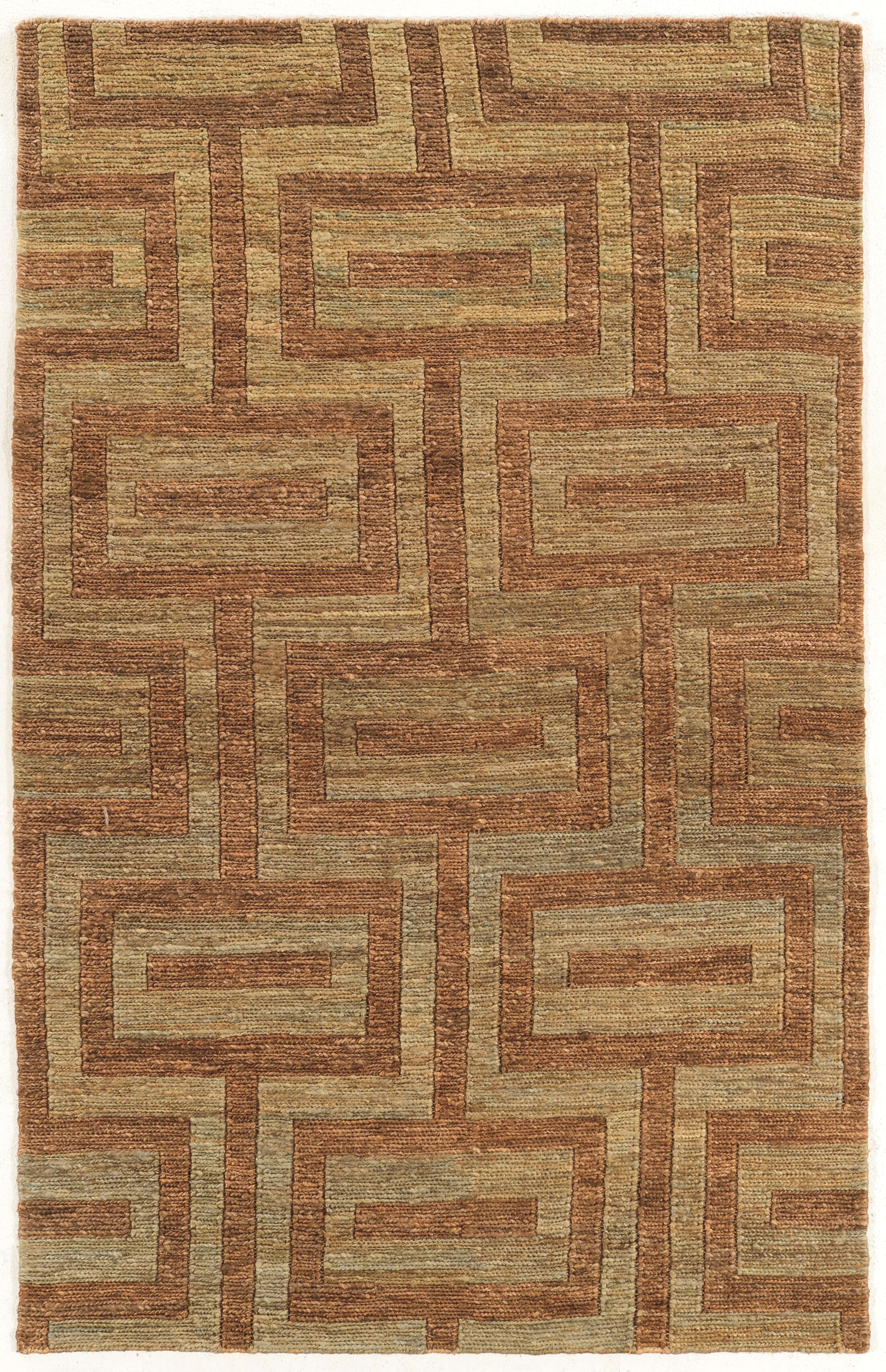 Chloraka Hand-Knotted Beige/Russet Area Rug Rug Size: Rectangle 8' x 11'