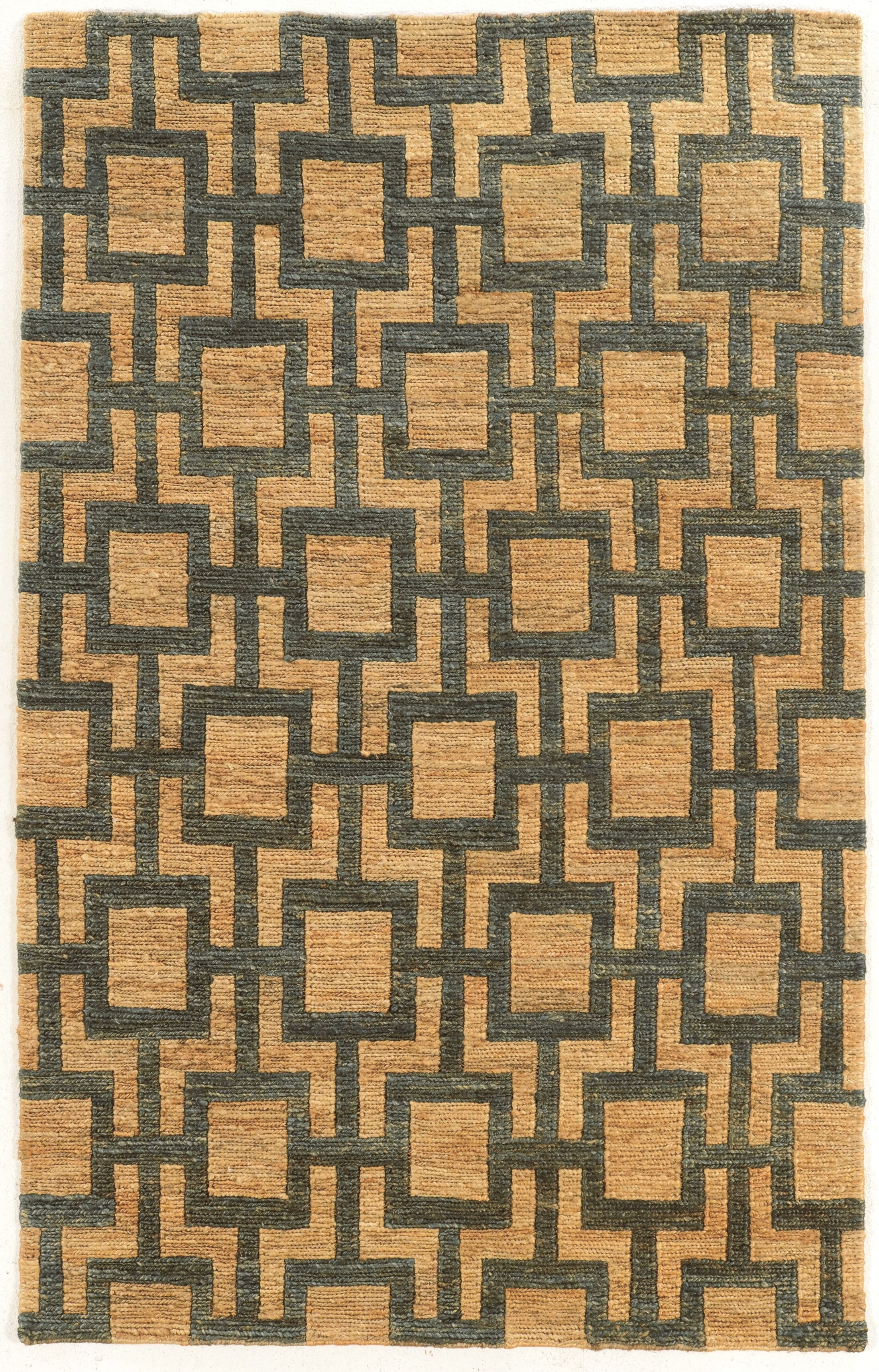 Chloraka Hand-Knotted Beige/Slate Area Rug Rug Size: Rectangle 2' x 3'