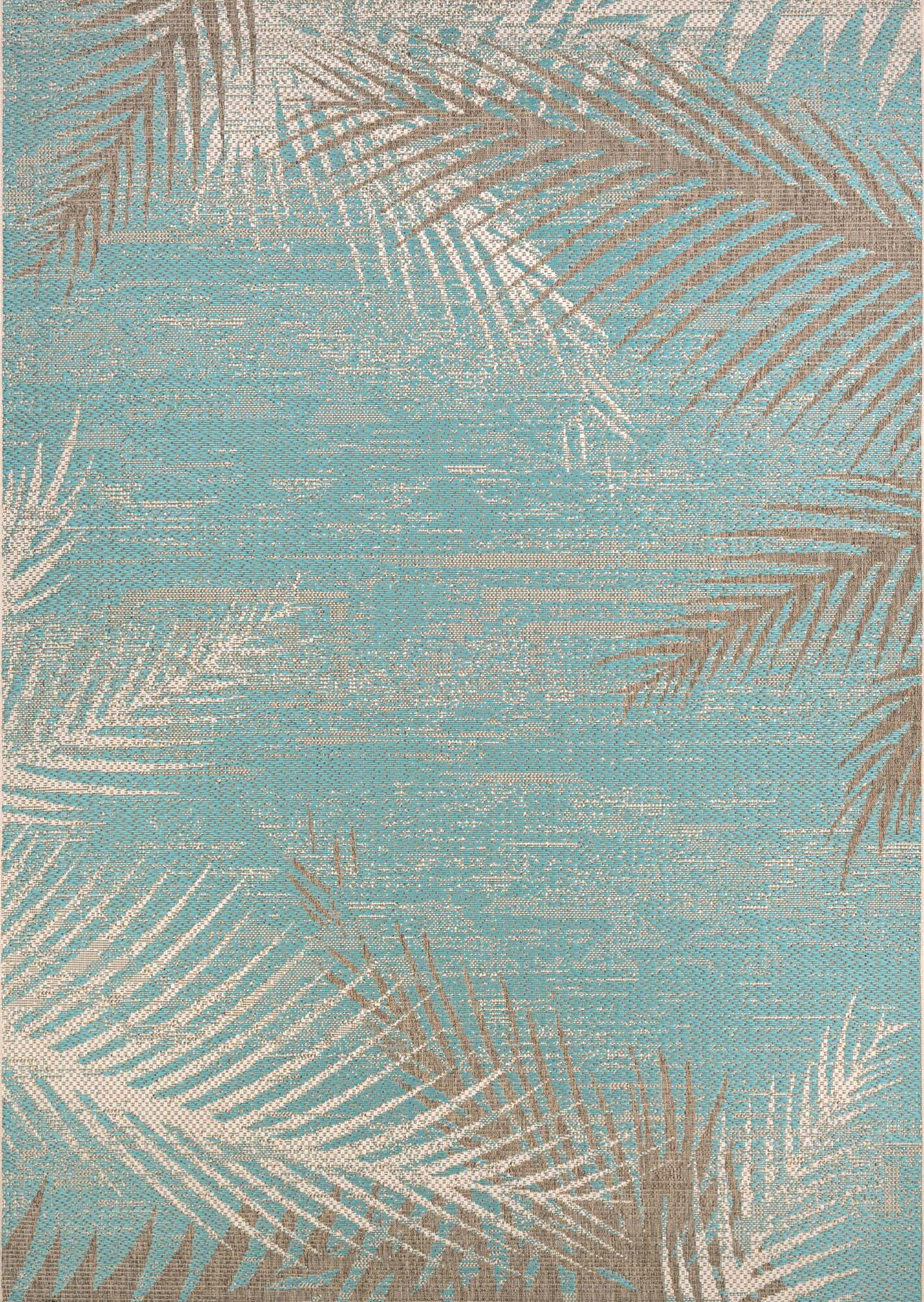 Odilia Tropical Palms Turquoise/Gray/Ivory Indoor/Outdoor Area Rug Rug Size: Rectangle 5'10