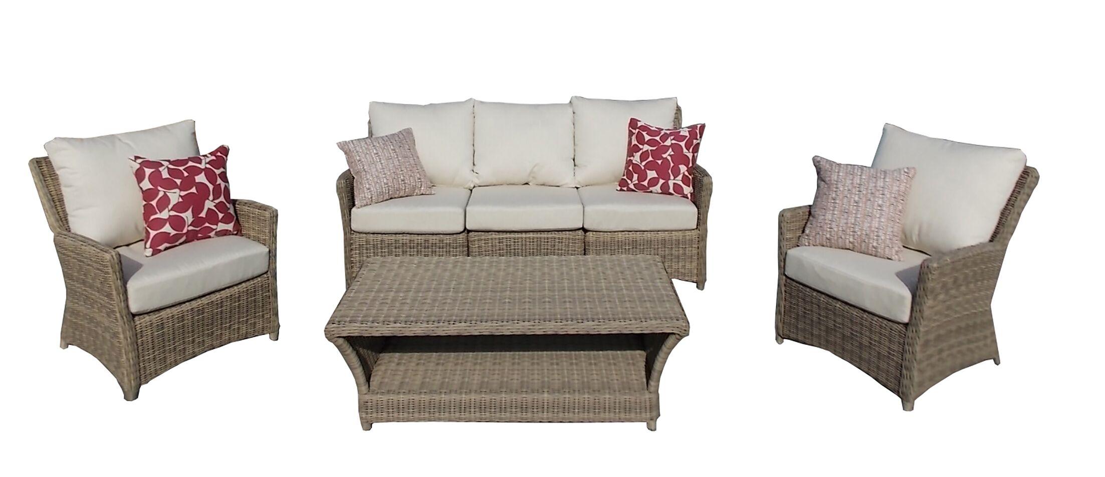 Leamont 4 Piece Sunbrella Sofa Set with Cushions