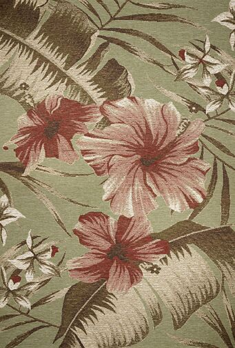Maguire Sage Green Floral Hibiscus Indoor/Outdoor Area Rug Rug Size: Rectangle 5'3