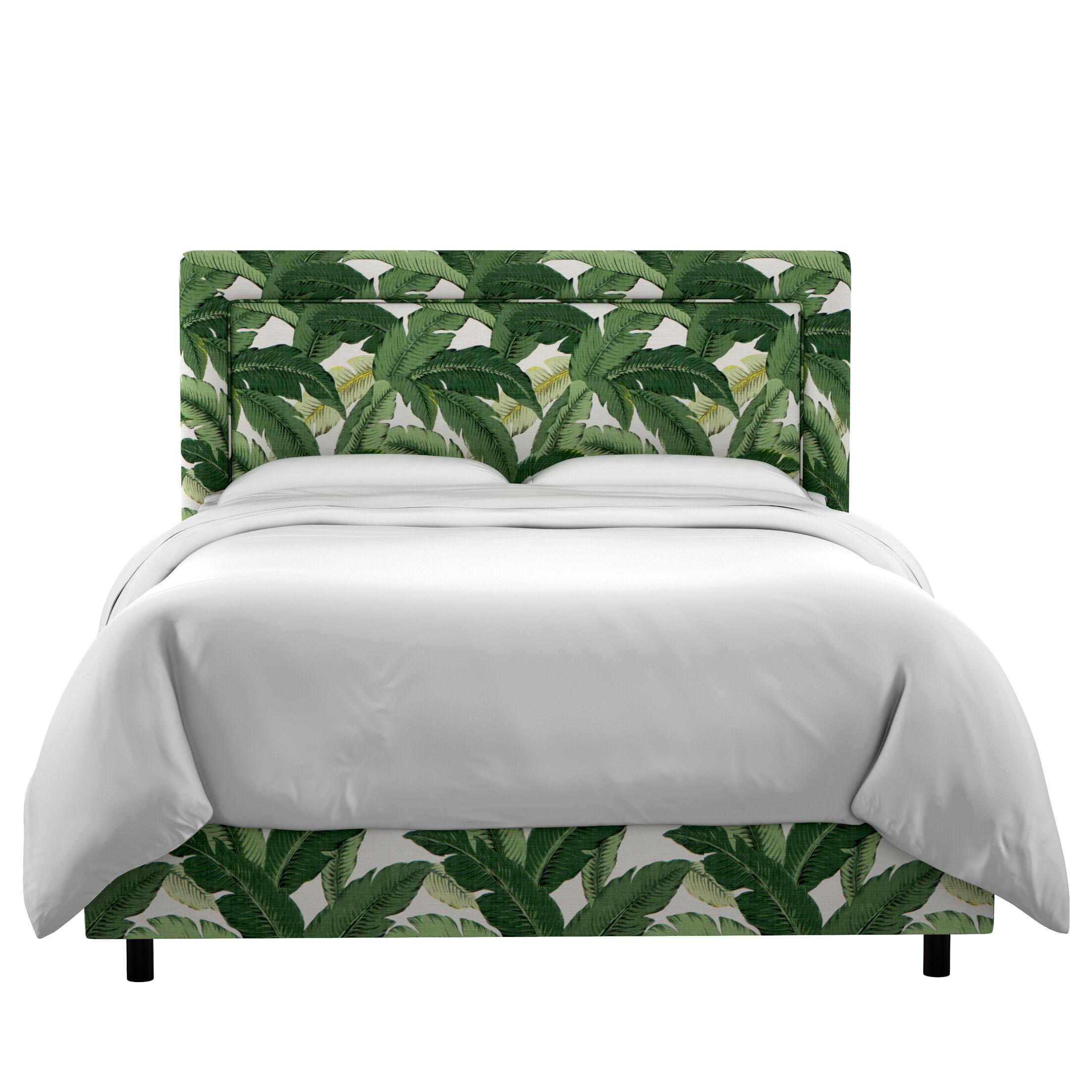 Promfret Swaying Palm Aloe Border Linen Upholstered Panel Bed Size: Queen