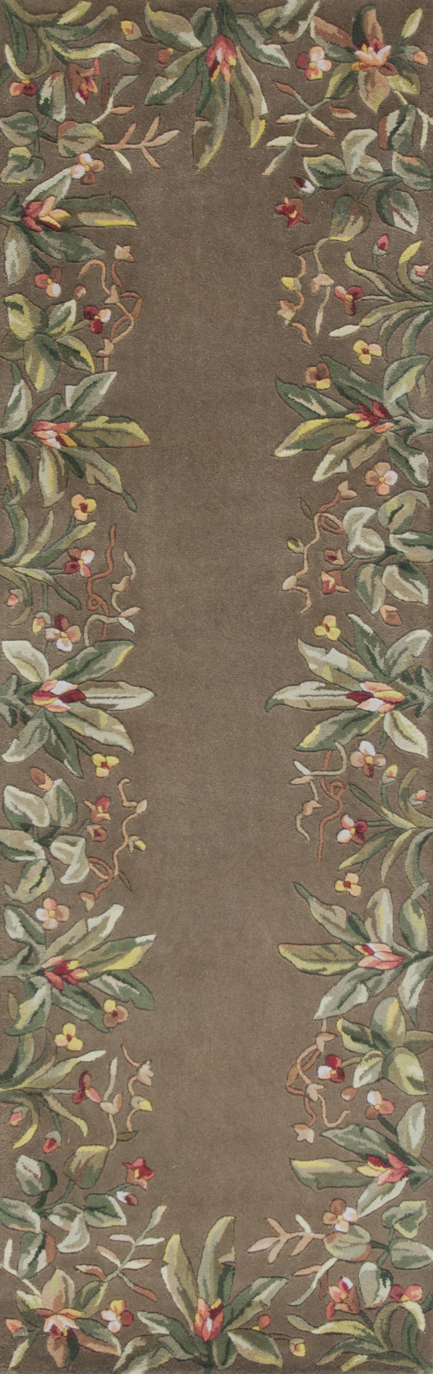 Marion Taupe Tropical Border Area Rug Rug Size: Runner 2'6