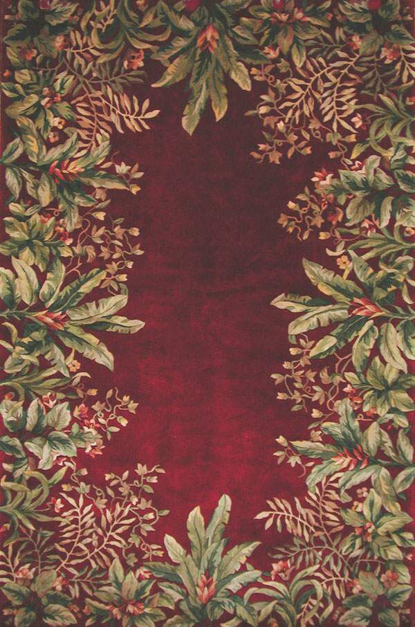 Marion Ruby Tropical Border Area Rug Rug Size: Rectangle 8' x 11'
