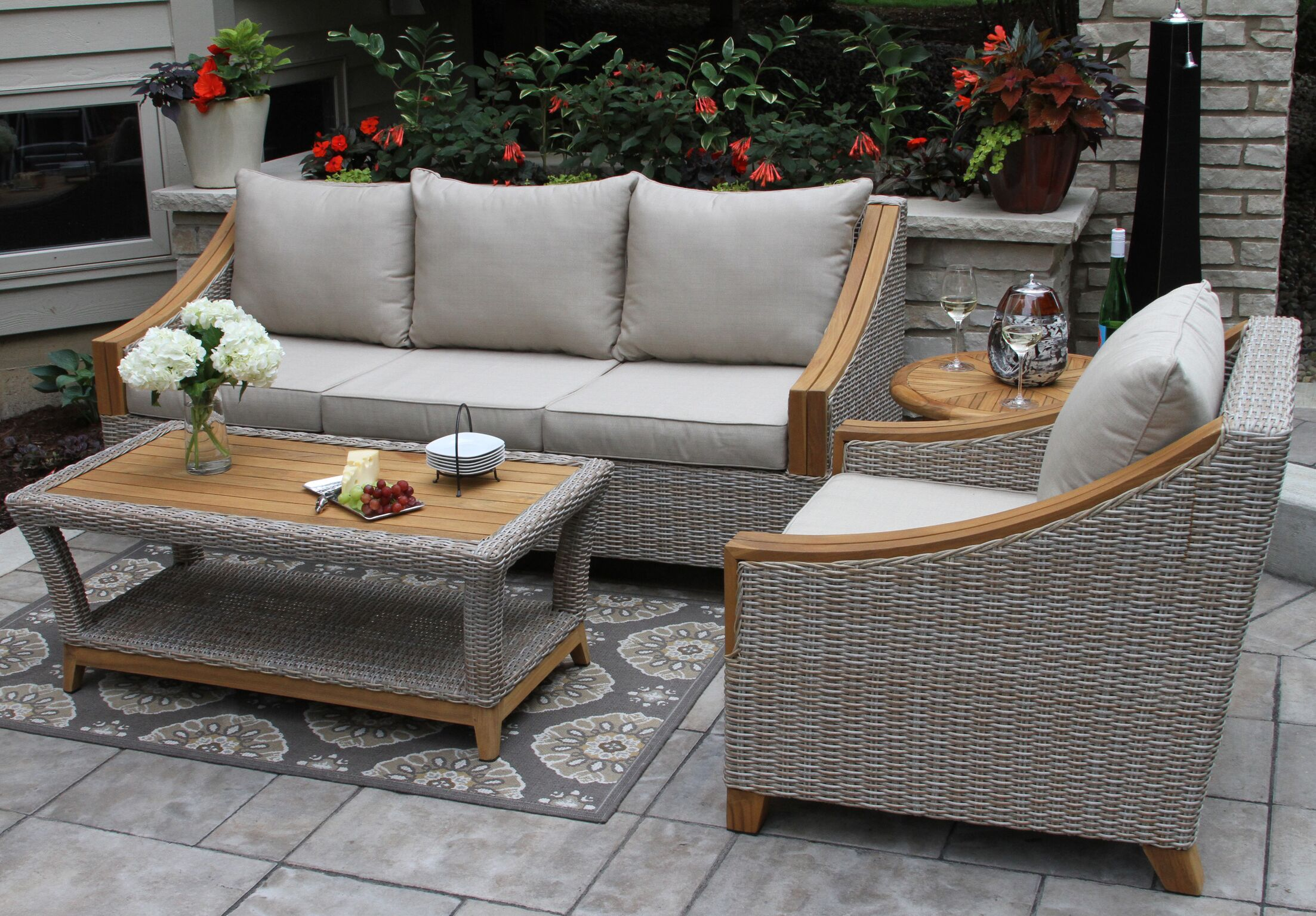 Asta Teak Seating Group with Sunbrella Cushions