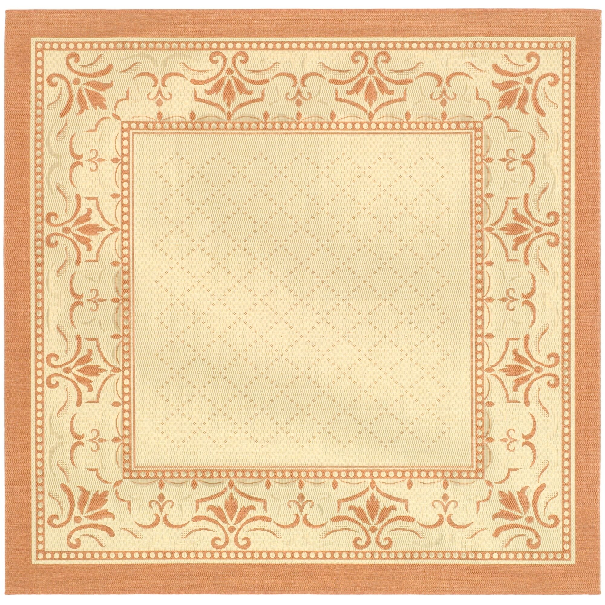 Amaryllis Natural/Terracotta Indoor/Outdoor Area Rug Rug Size: Square 7'10