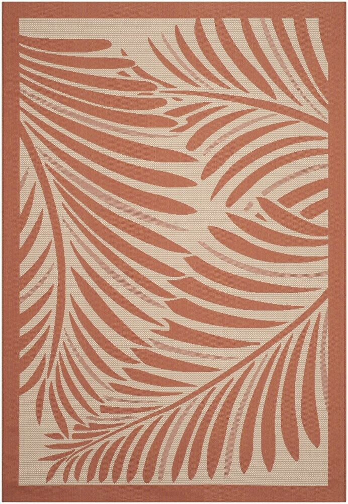 Tropic Palm Beige/Terracotta Area Rug Rug Size: Rectangle 4' x 5'7