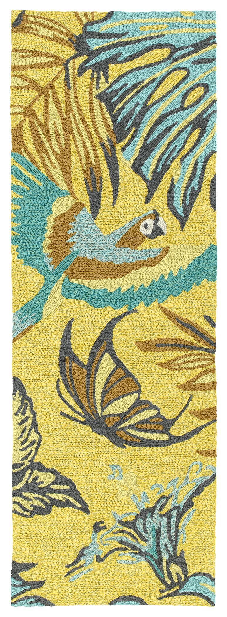 Navarre Handmade Yellow Indoor/Outdoor Area Rug Rug Size: Runner 2' x 6'