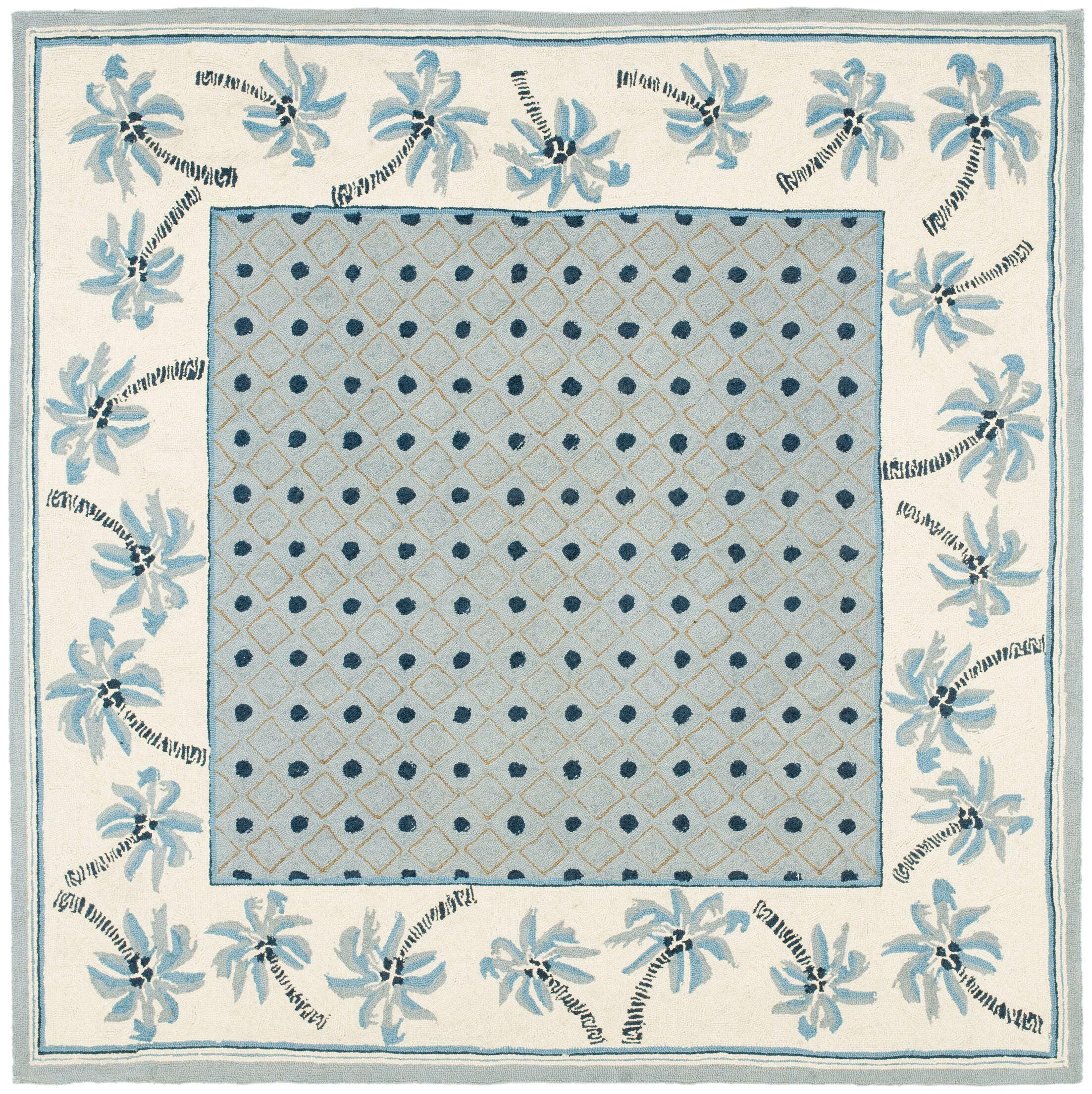 Hogle Blue/Ivory Rug Rug Size: Square 6'