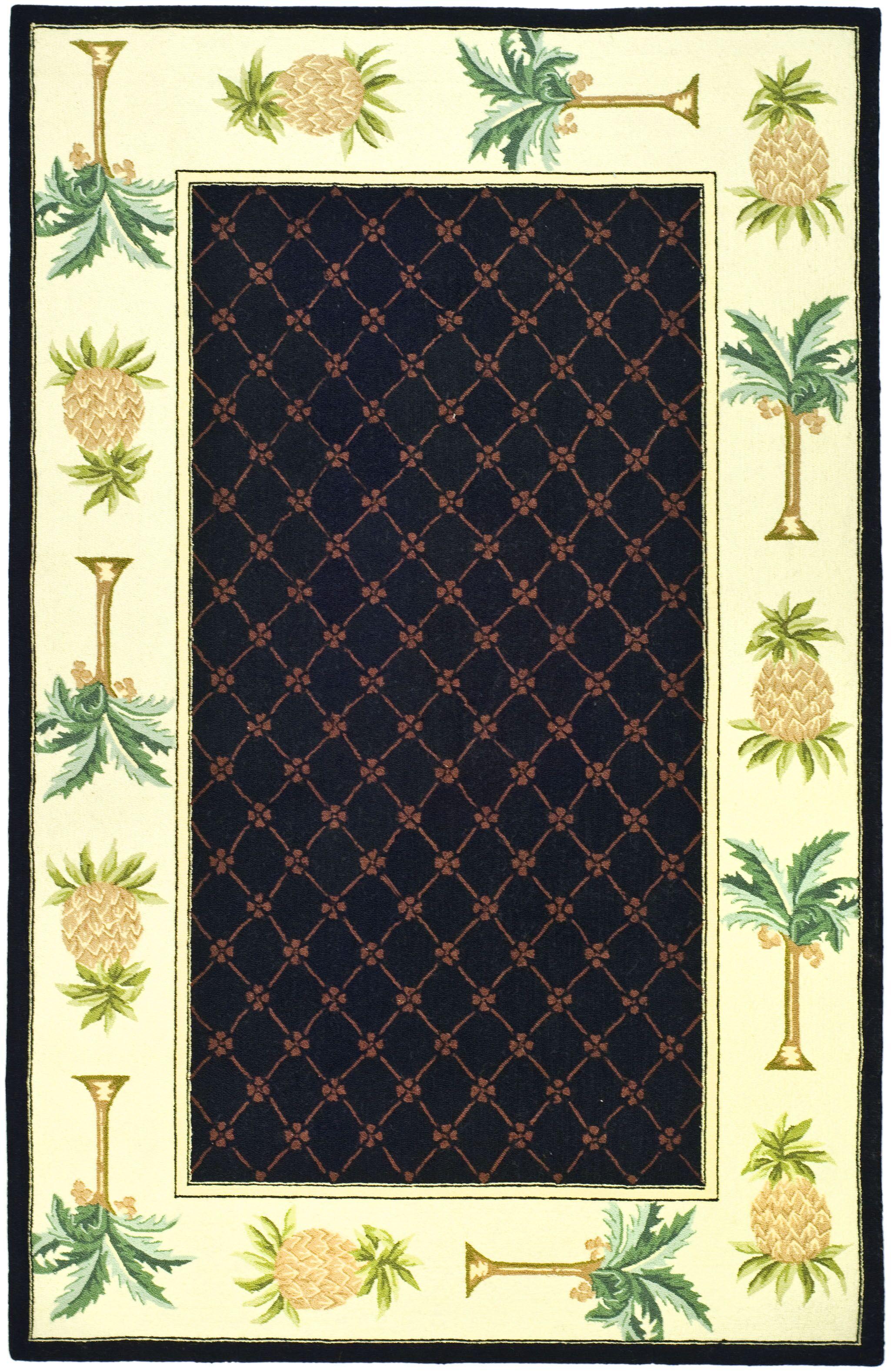 Hogle Black/Ivory Novelty Rug Rug Size: Rectangle 6' x 9'