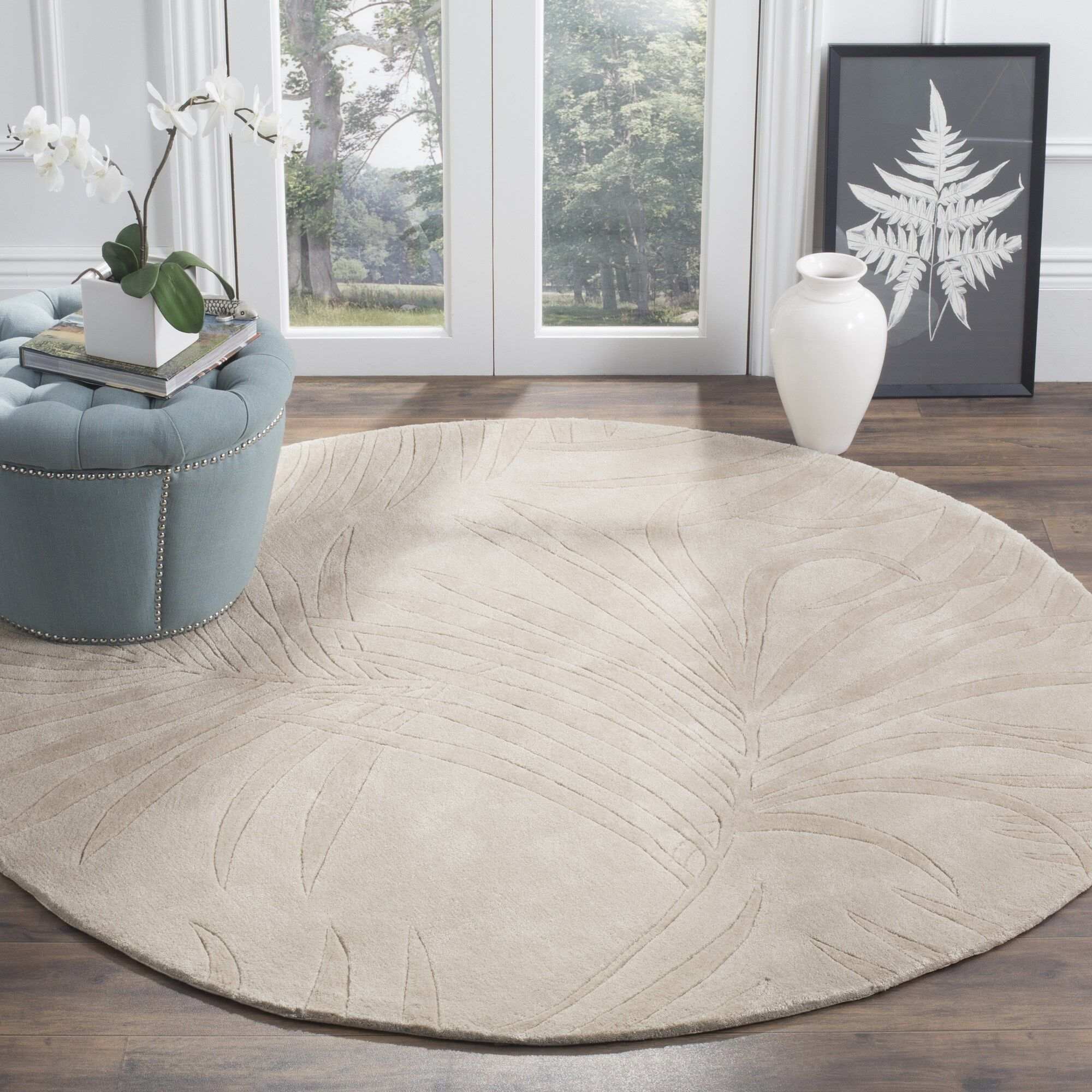 Palmnue Hand-Hooked Gray Area Rug Rug Size: Rectangle 8' x 10'
