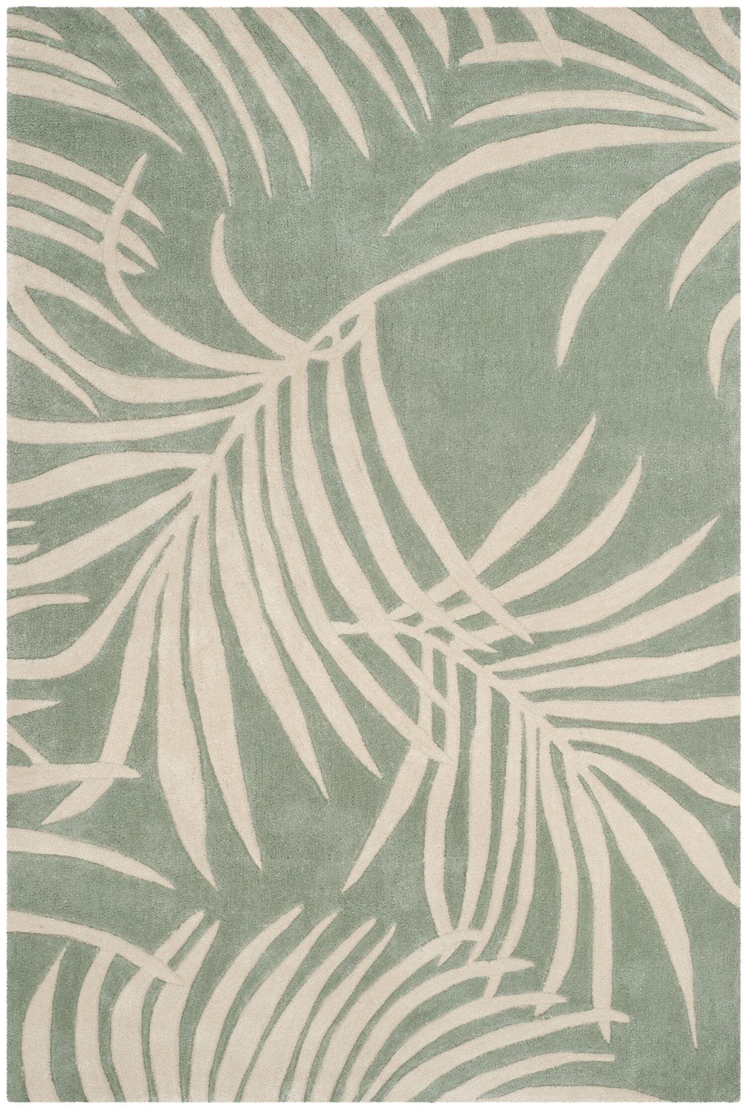 Palmnue Hand-Hooked Beige/Gray Area Rug Rug Size: Rectangle 8' x 10'