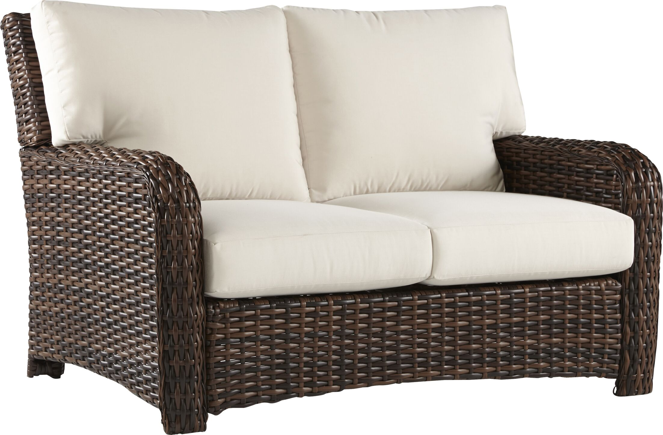 Chorio Loveseat with Cushions Cushion Color: Sesame, Frame Color: Stone